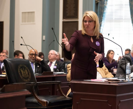 House Majority Leader, Valerie Longhurst, D-Red Lion thanks everyone after House Bill 1, equal rights amendment to the state constitution, passes during session in January at Legislative Hall.
