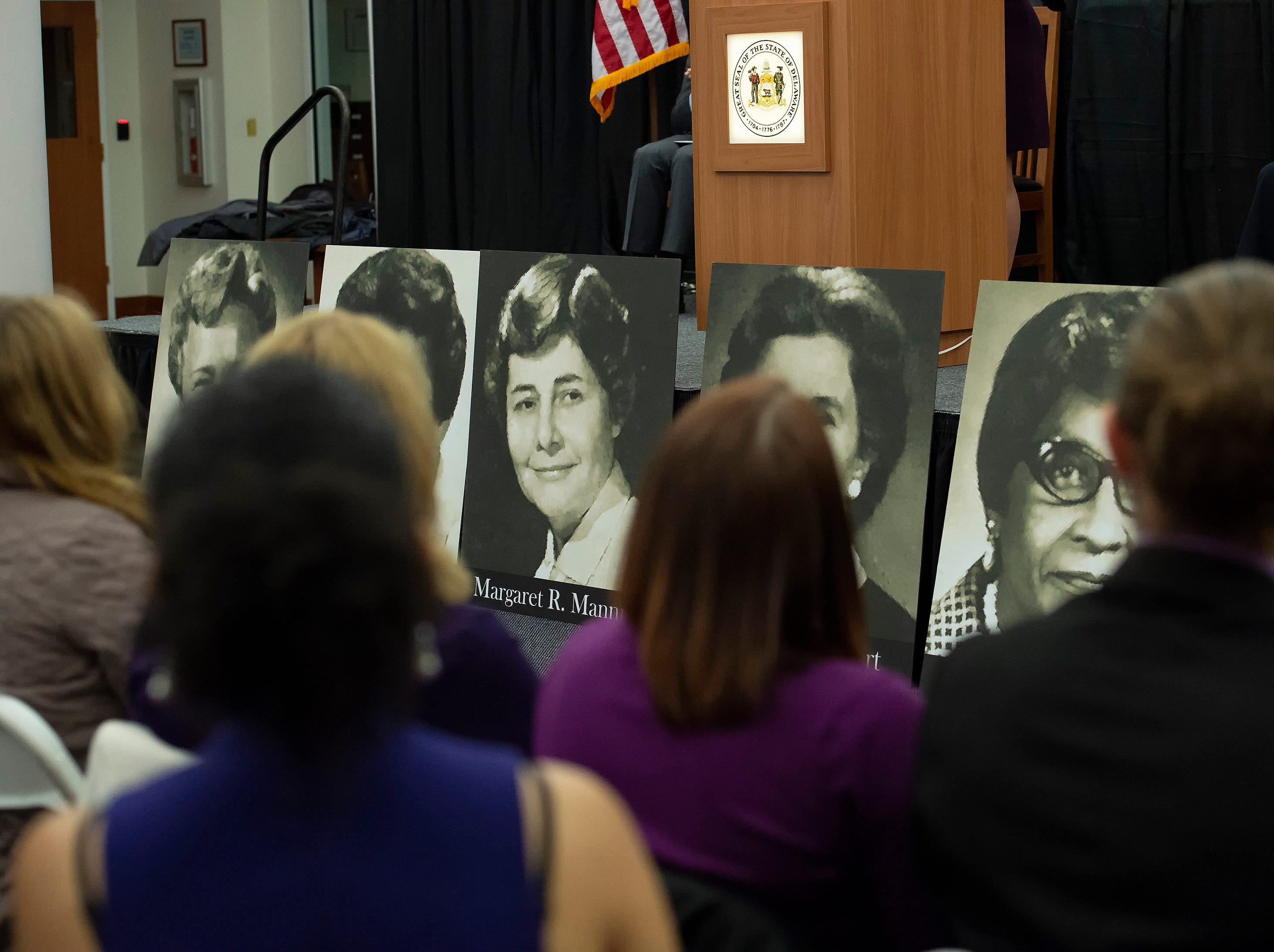 View of photos of the women of the 126th General Assembly being honored during an event at the Delaware Public Archives.