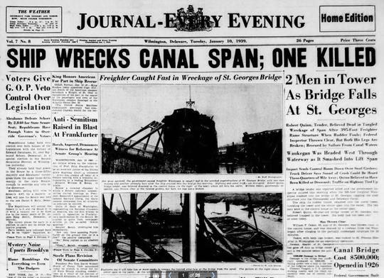 The front page of the Journal-Every Evening on Jan. 10, 1939, after a freighter crashed into the St. Georges Bridge.