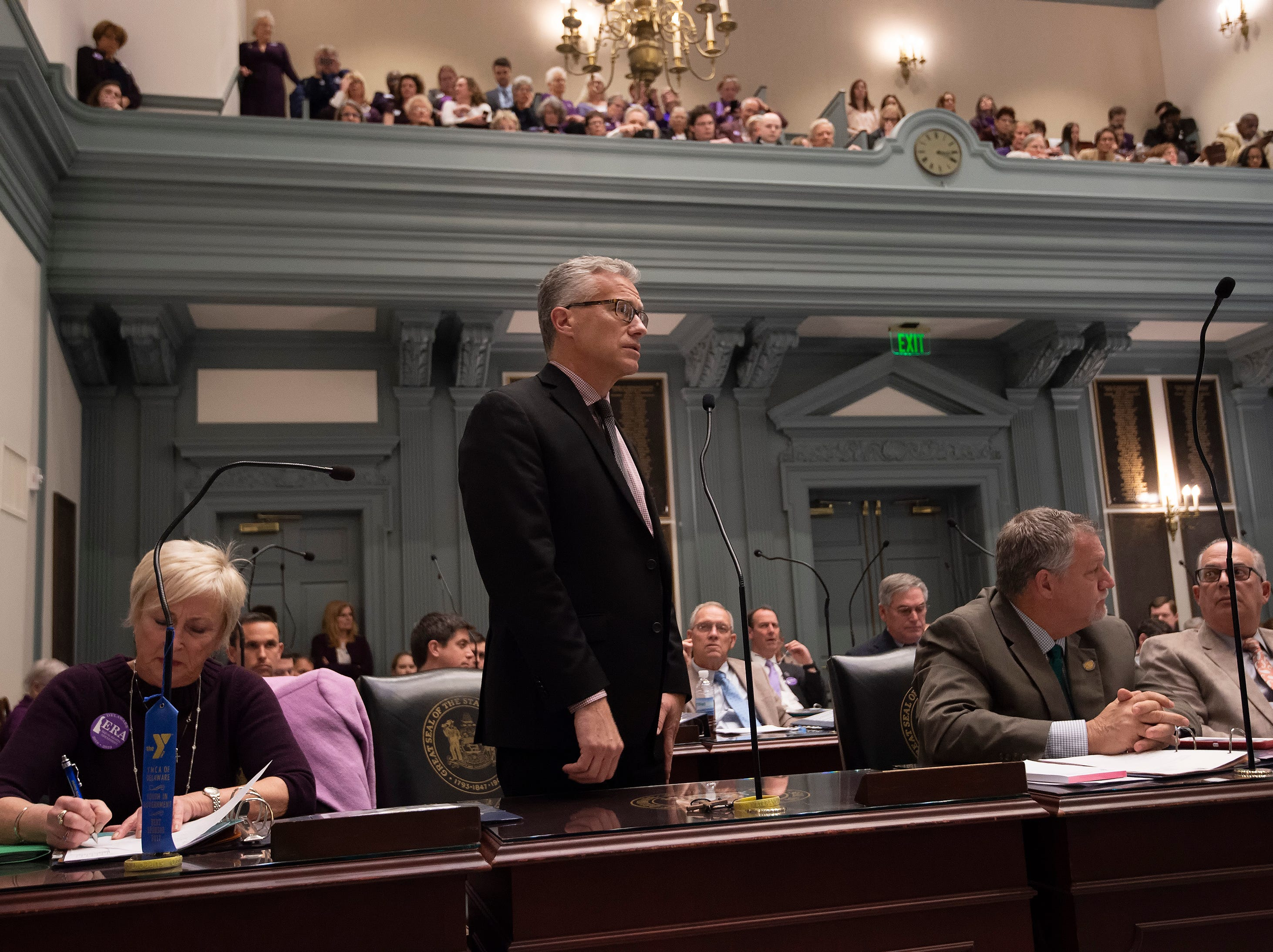 Lyndon D. Yearick, R-Camden/Wyoming gives his remarks against House Bill 1, equal rights amendment to the state constitution, during session at Legislative Hall in Dover.