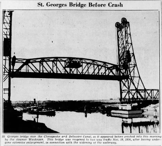 The St. Georges Bridge is pictured prior to its destruction by a ship crash.
