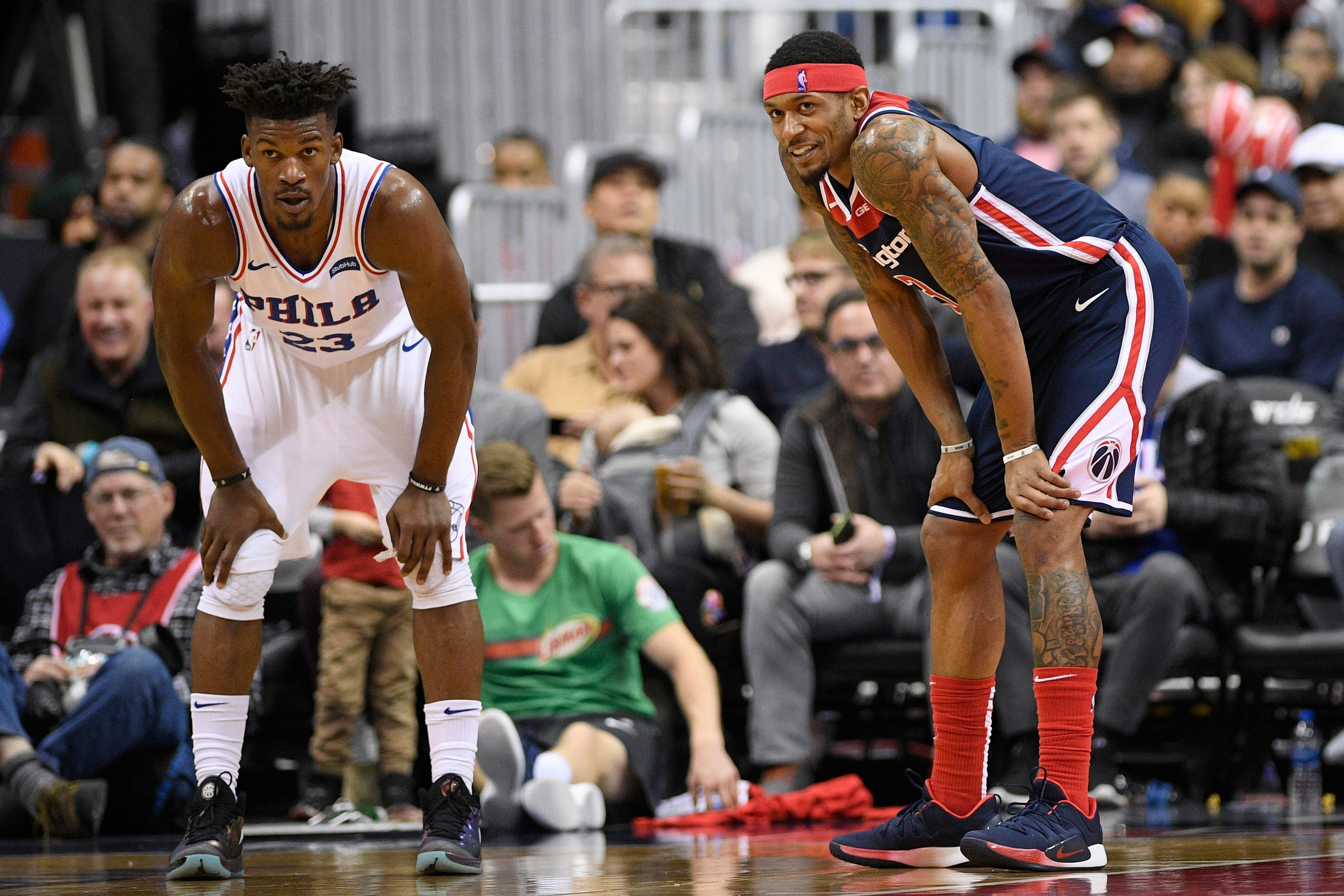 0e1c8b133 Washington Wizards guard Bradley Beal (3) reacts as he stands next to  Philadelphia 76ers