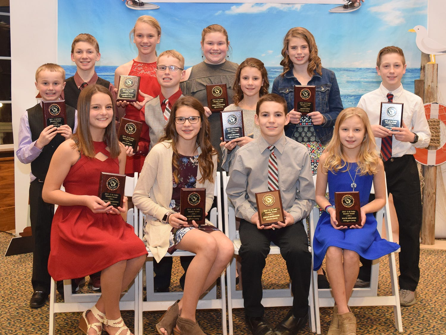 Wisconsin Junior Holstein Association members ages 12 & Under receiving recognition during the annual convention are, front row (from left) Campbell Booth, Ashley Brandel, Logan Harbaugh, and Macie Abraham. Second row (from left) Cameron Ryan, Dylan Ryan, Katie Brandel, and Levi Nelson. Back row (from left) Christopher Gunst, Cathryn Gunst, Tessa Schmocker and Macie Noble.