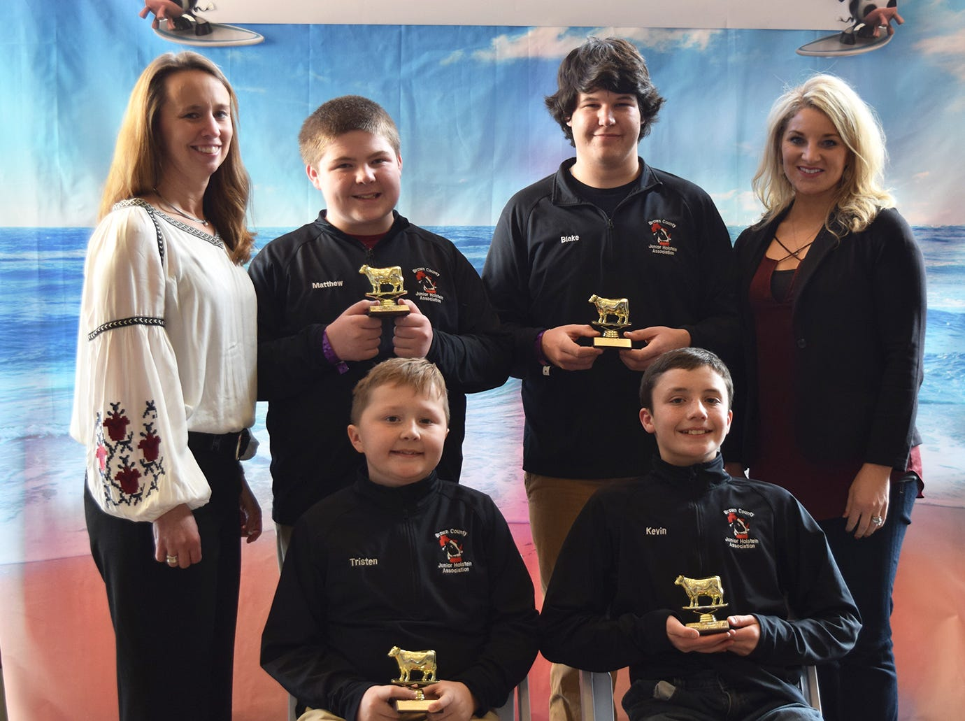Earning a runner-up finish in the junior division of the Dairy Bowl contest was Brown County, comprised of team members, front row (from left) Tristen Ostrom and Kevin Biese. Back row (from left) coach Annette Ostrom, Matthew Ossmann, Blake Van de Hei and coach Peggy Coffeen.