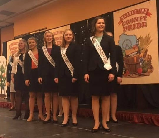 The top five finalists wait breathlessly for the announcement of the 2019 Wisconsin Fairest of Fair. From left, Emily Franke, Fond du Lac County, Sharla Boehlke, Ozaukee County, Molly Mcilquham, Northern Wisconsin State, Morgan Rynish, Outagamie County and Meghan Buechel, Brown County.
