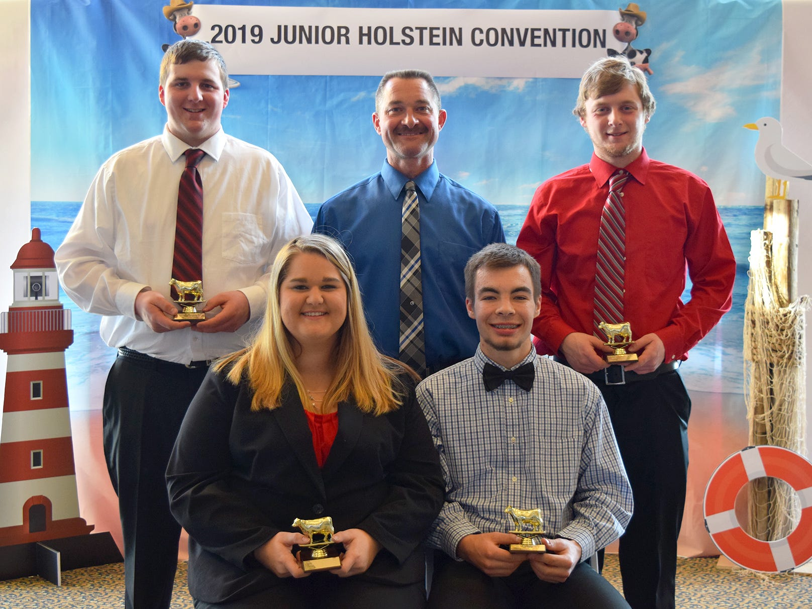 Placing second in the Senior Division of the Dairy Bowl is the team from Door County, front row (from left) Clarie Olson and  Zach Olson. Back row (from left) Austin Vandertie, coach Richard Olson and  Jared Baudhuin.