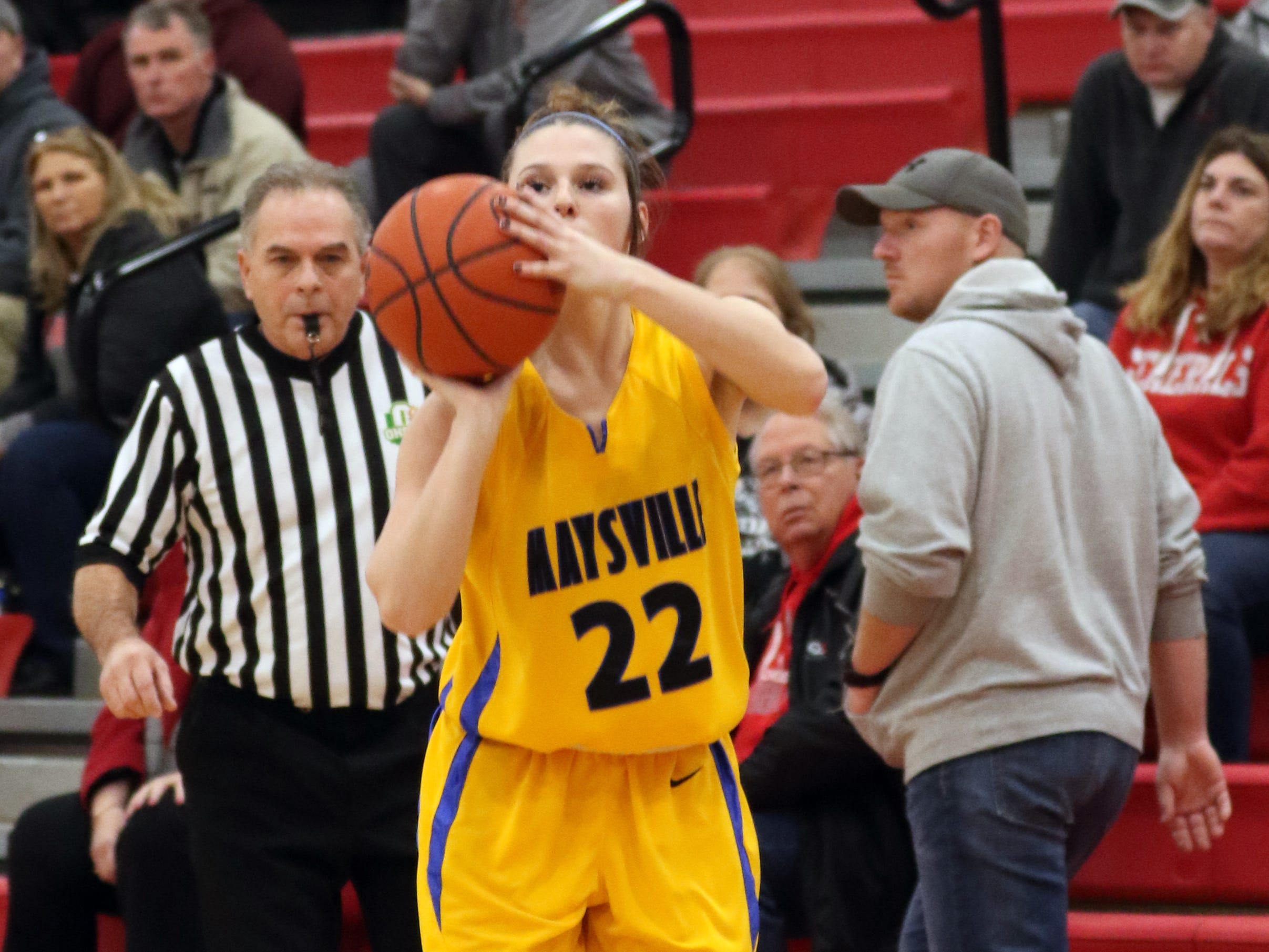 Maysville's Macie Jarrett puts up a shot against Sheridan.