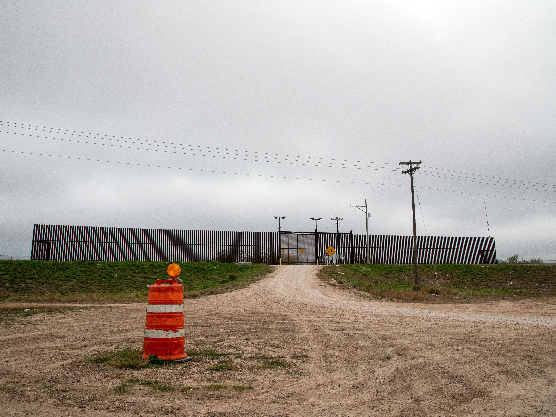 A border fence in Hidalgo, Texas near the McAllen-Hidalgo International Bridge.