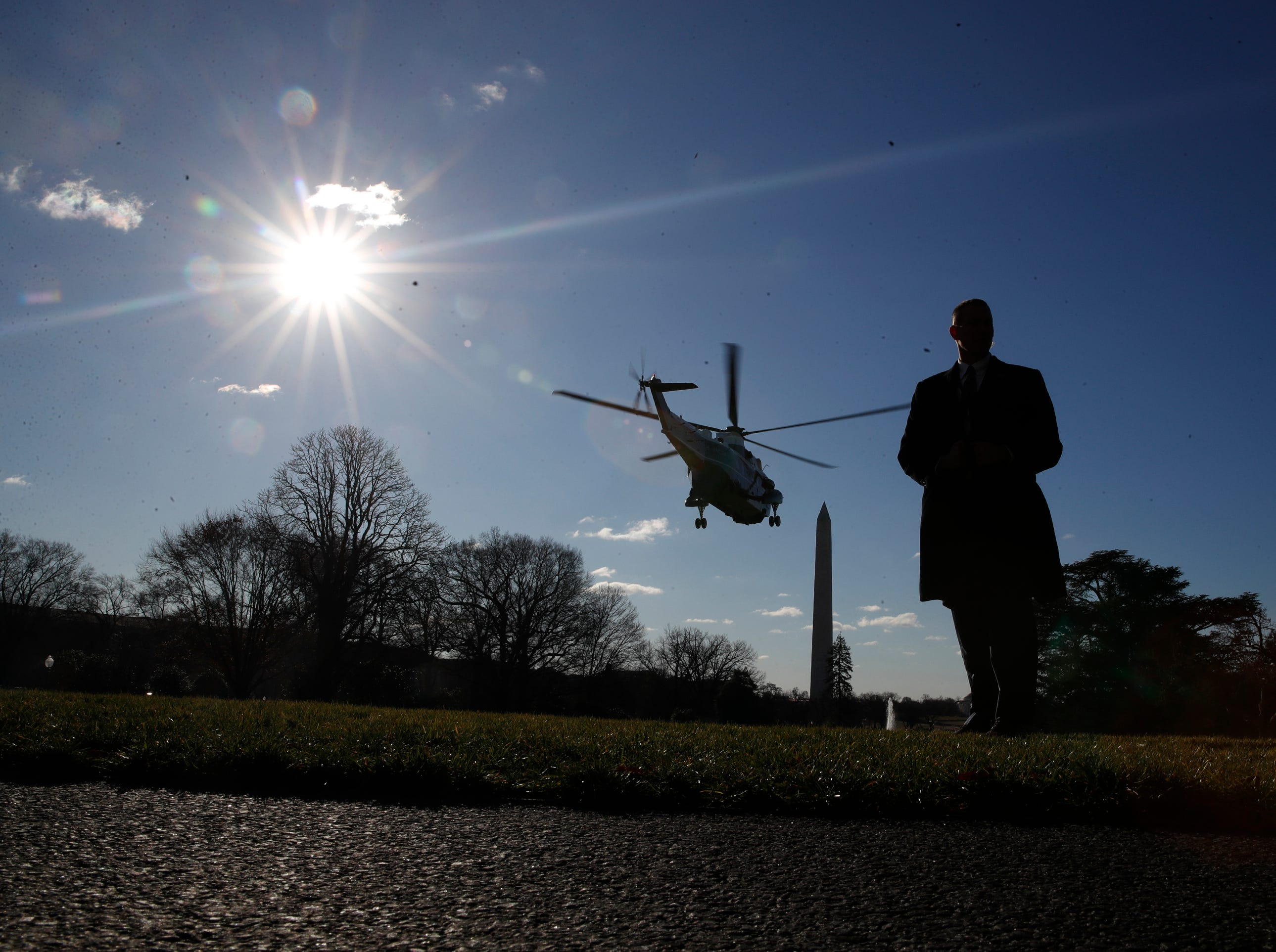 Marine One helicopter, with President Donald Trump aboard, flies off the South Lawn of the White House, Thursday Jan. 10, 2019, in Washington, en route for a trip to the border in Texas as the government shutdown continues.