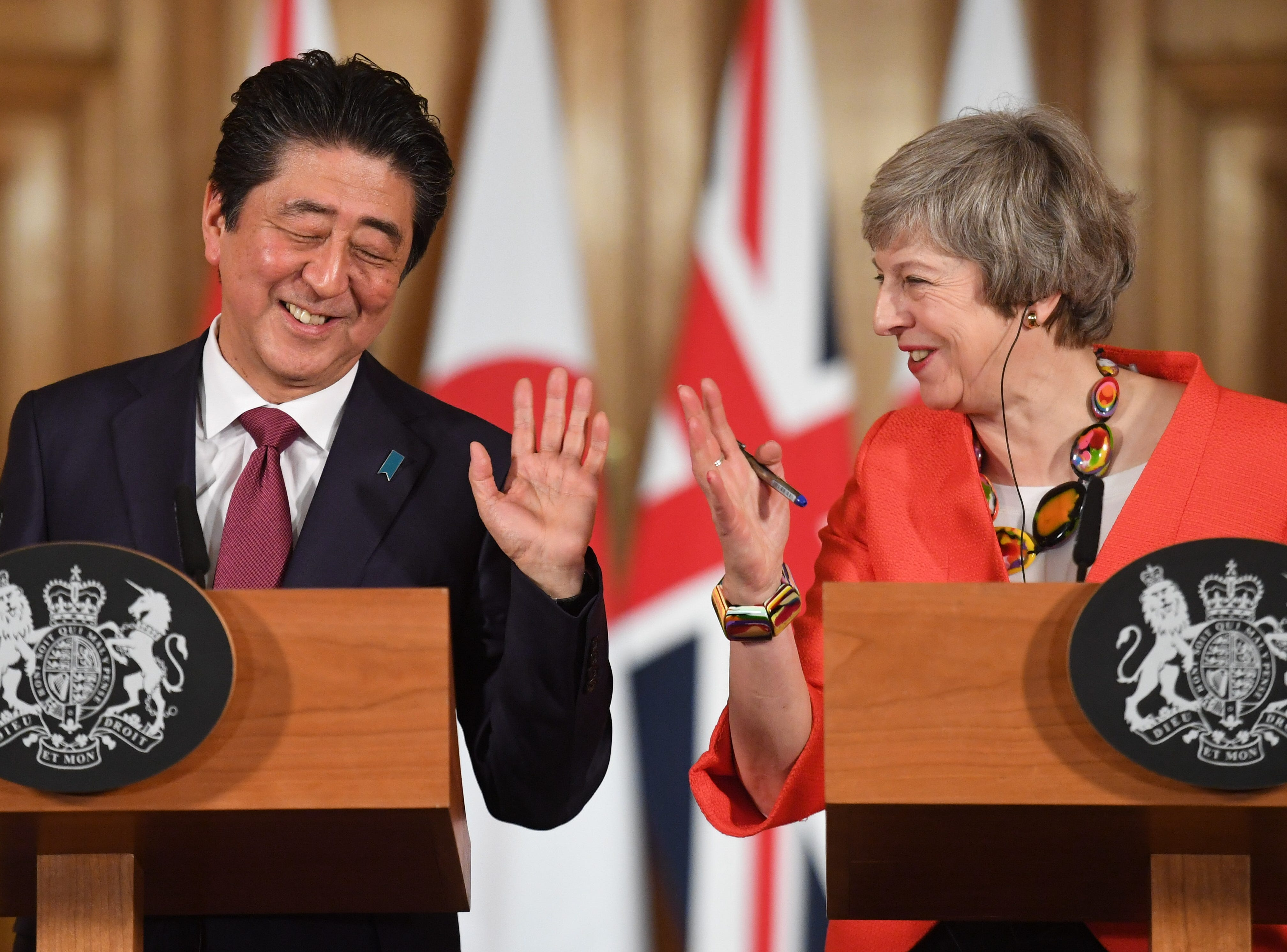British Prime Minister Theresa May holds a press conference with Japanese Prime Minister Shinzo Abe after bilateral talks at 10 Downing Street on Jan. 10, 2019 in London, England. The leader of Japan is visiting to strengthen ties with the United Kingdom before Brexit in March and to forge collaborations on technology and innovation between counties.