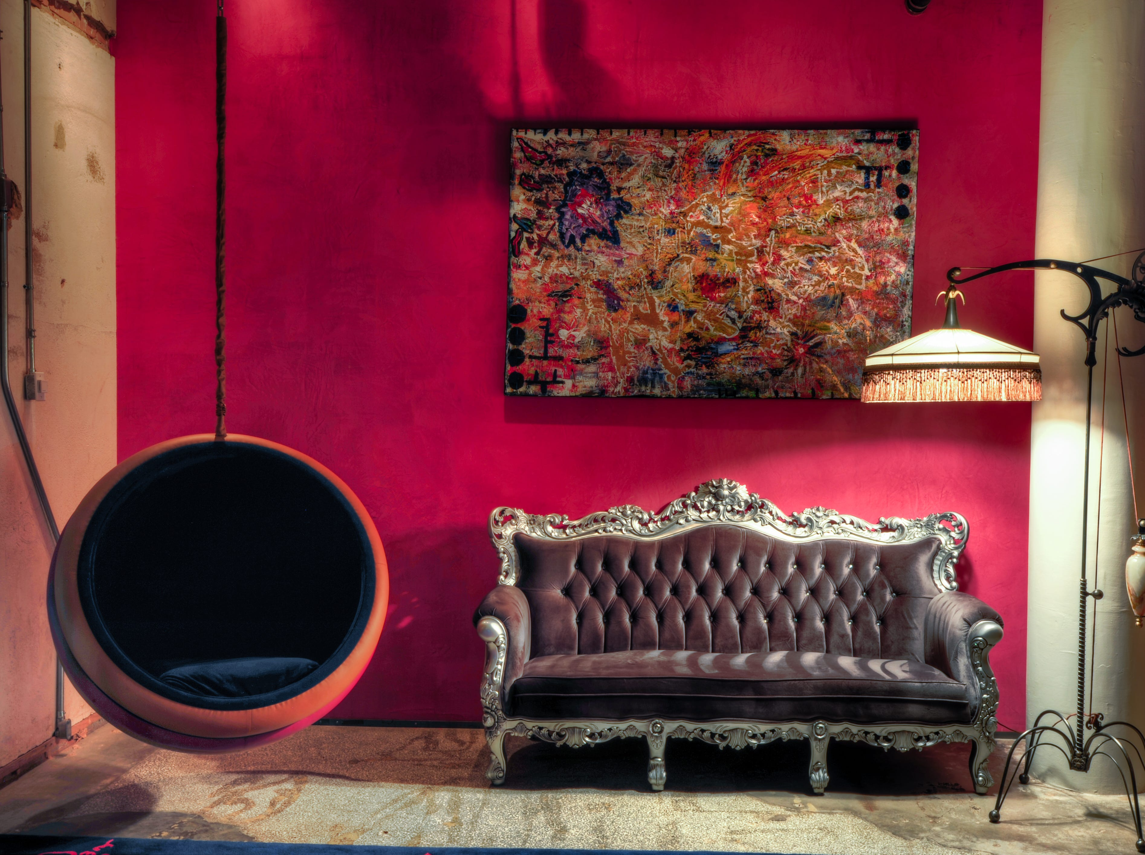The new CANVAS Hotel Dallas has accessories in the lobby to appeal to an art and literary crowd.