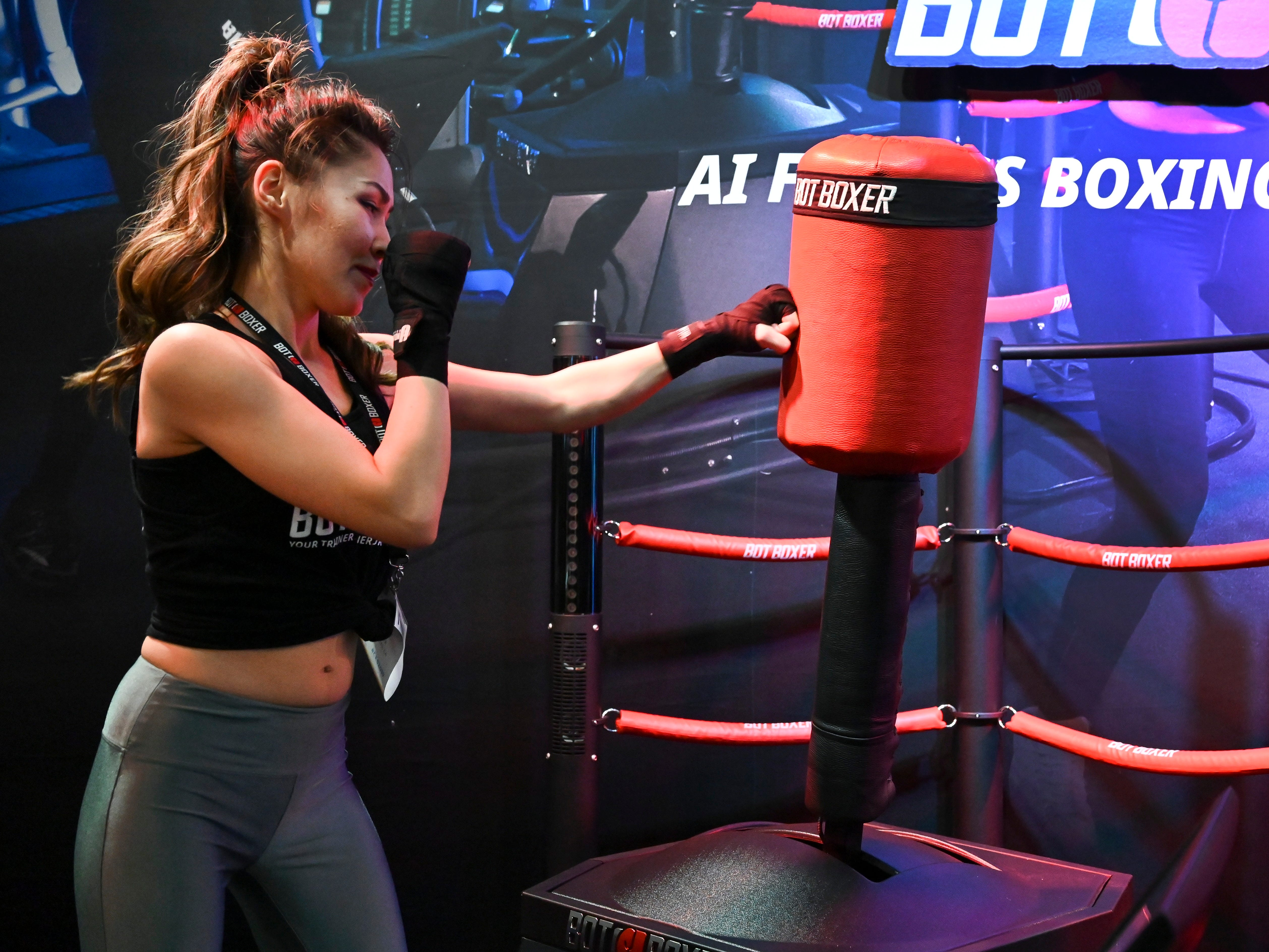 Bo Kairat demonstrates BotBoxer a robotic personal sparring partner for combat sports training.