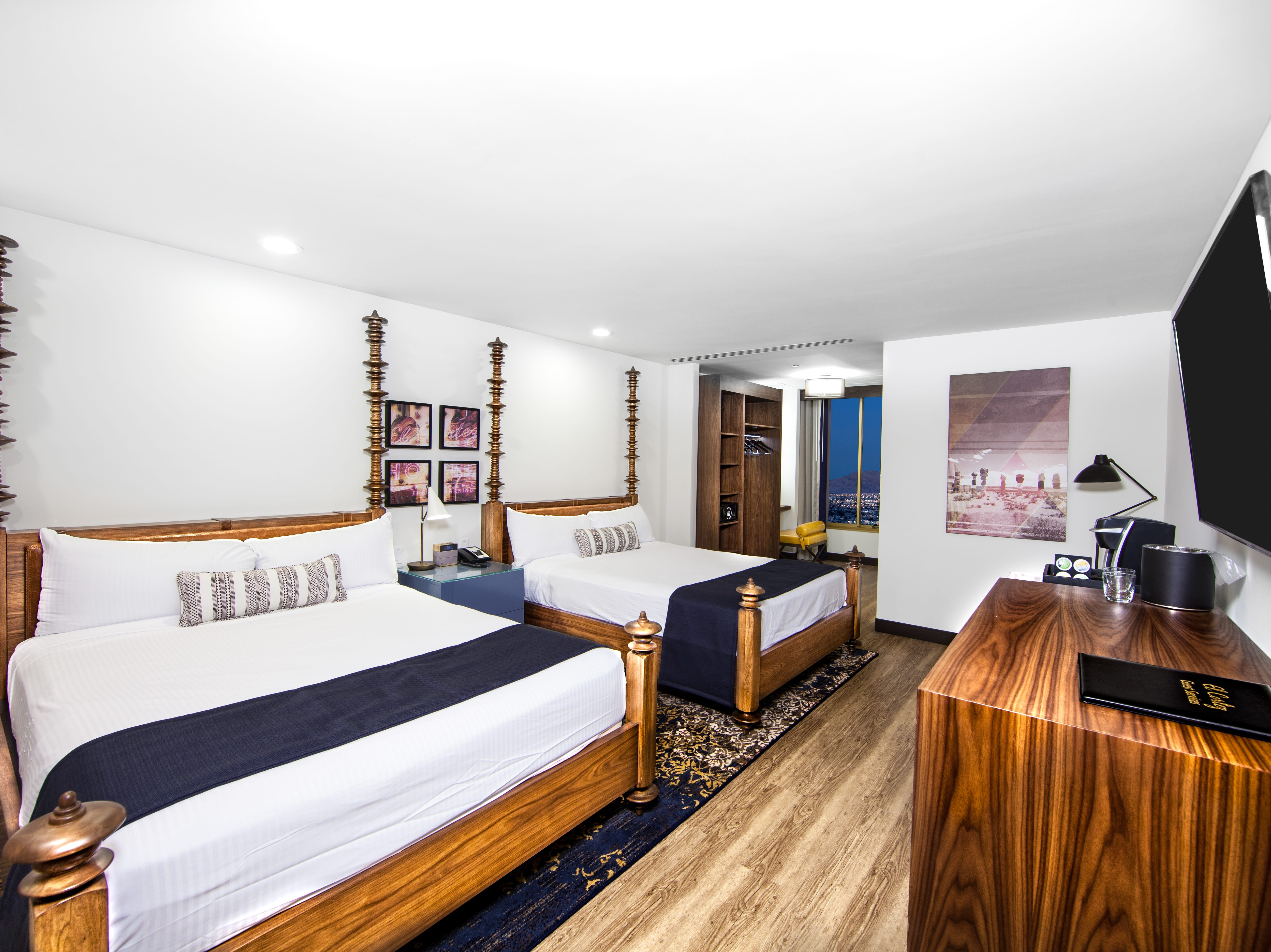 Some of the redesigned rooms at the historic El Cortez Hotel & Casino in Downtown Las Vegas have two  Queen beds.