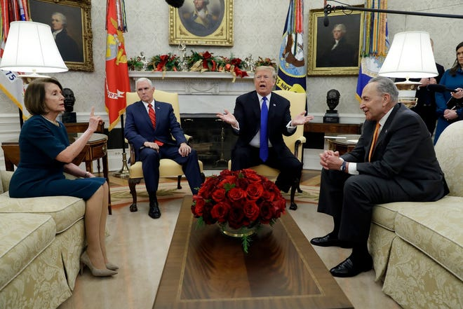 President Donald Trump, Vice President Mike Pence, Senate Democratic leader  Chuck Schumer, D-N.Y., and House Minority Democratic leader Nancy Pelosi, D-Calif., in happier days.