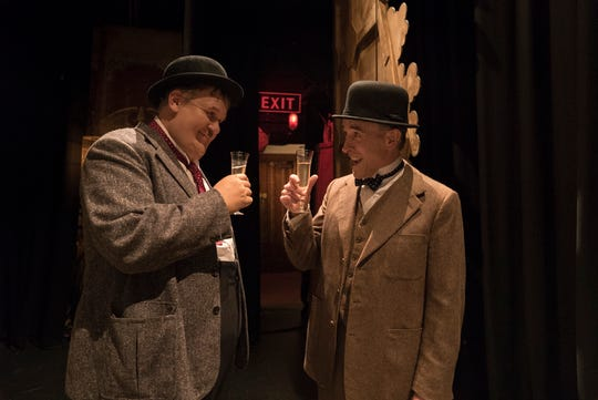 "Oliver Hardy (John C. Reilly) and Stan Laurel (Steven Coogan) toast their re-found success in ""Stan & Ollie."""