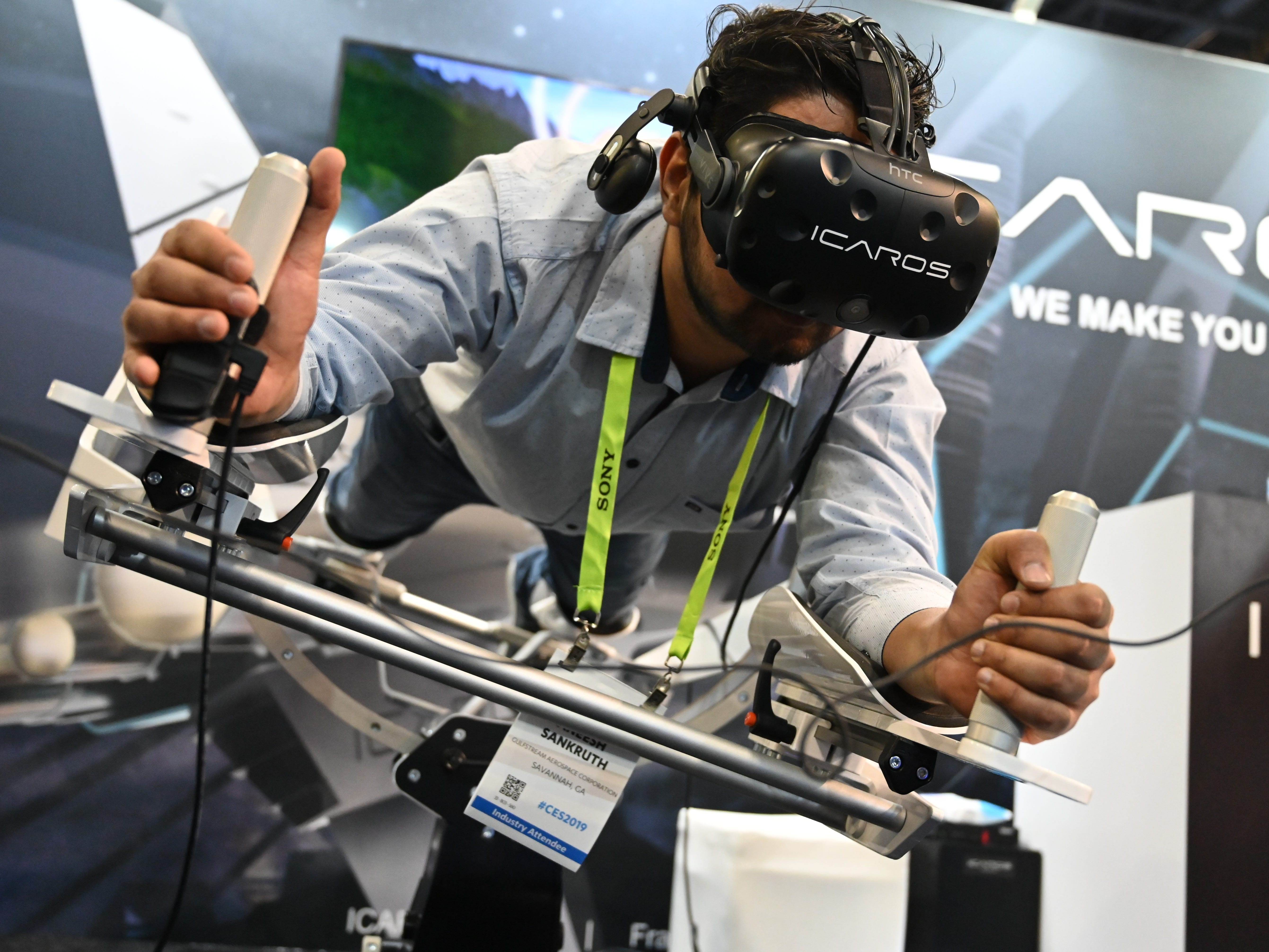 "Aneesh Sankruth tries out the Icaros Pro.  Icaros says their products ""Combines fitness with virtual reality and enables users to fly, dive or drive through virtual worlds while improving fitnes."""