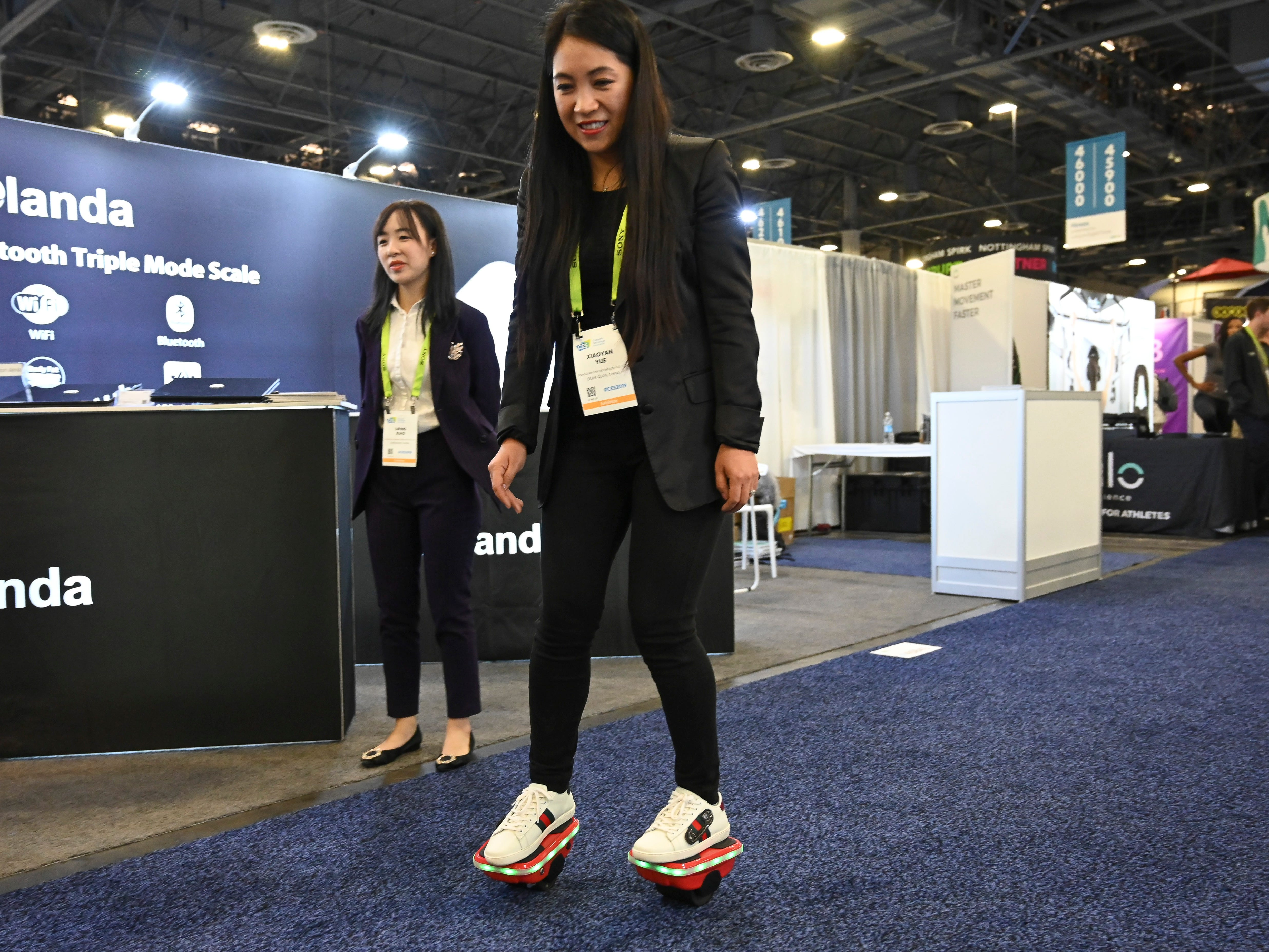 Xiaoyan Yue rides Glare Technology's Hover Shoes.