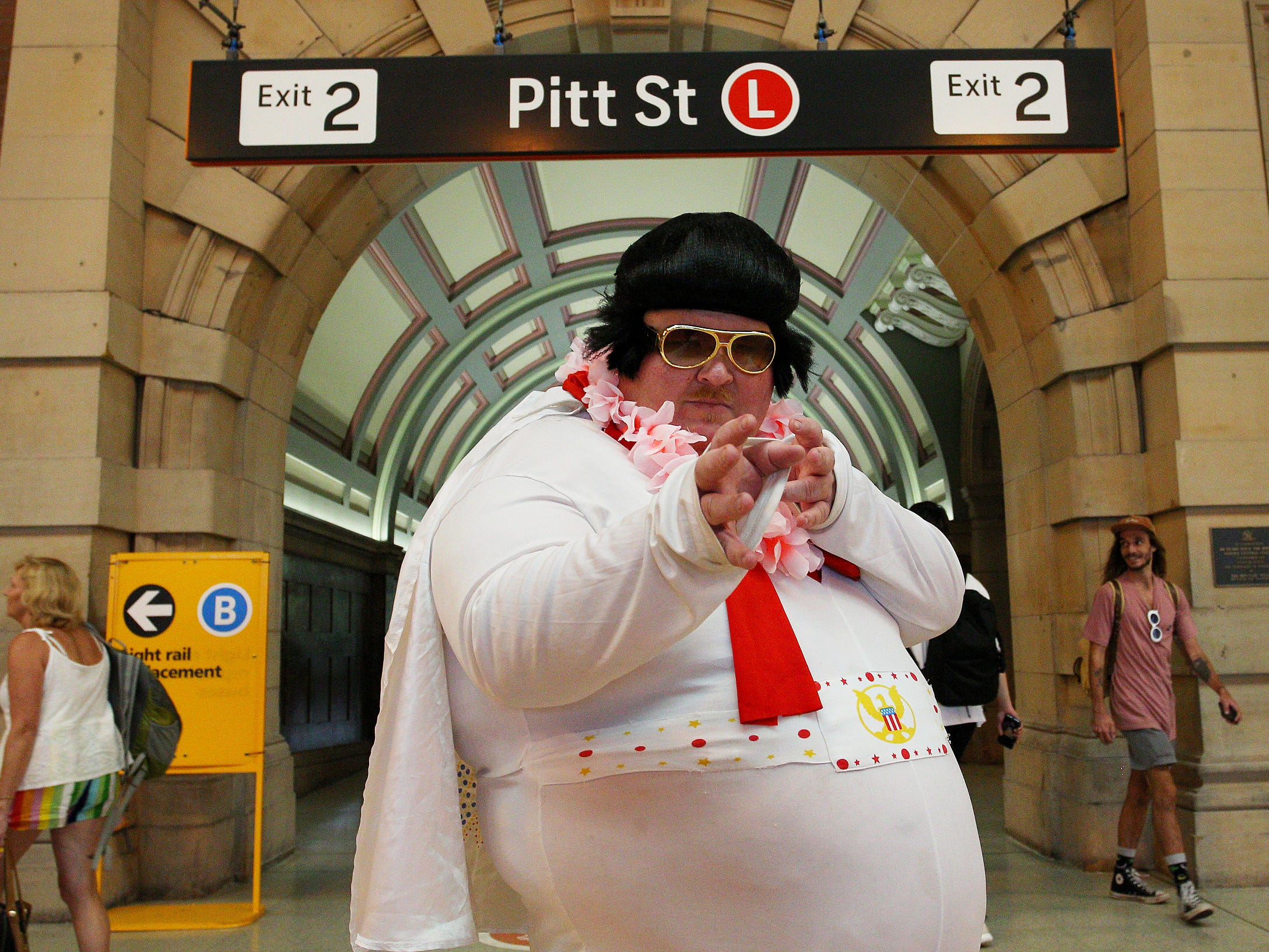 An Elvis tribute artist strikes his pose at Central Station, Thursday. The Parkes Elvis Festival is held annually over five days, timed to coincide with Elvis Presley's birth date in January.