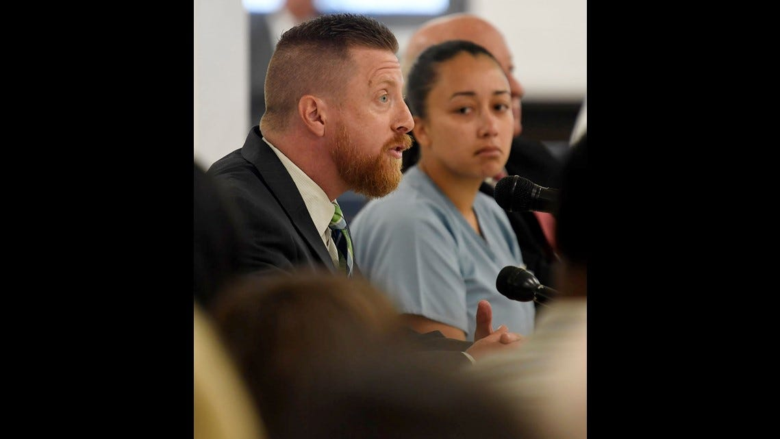 The author with Cyntoia Brown at her clemency hearing in Nashville, Tennessee. May, 2018.