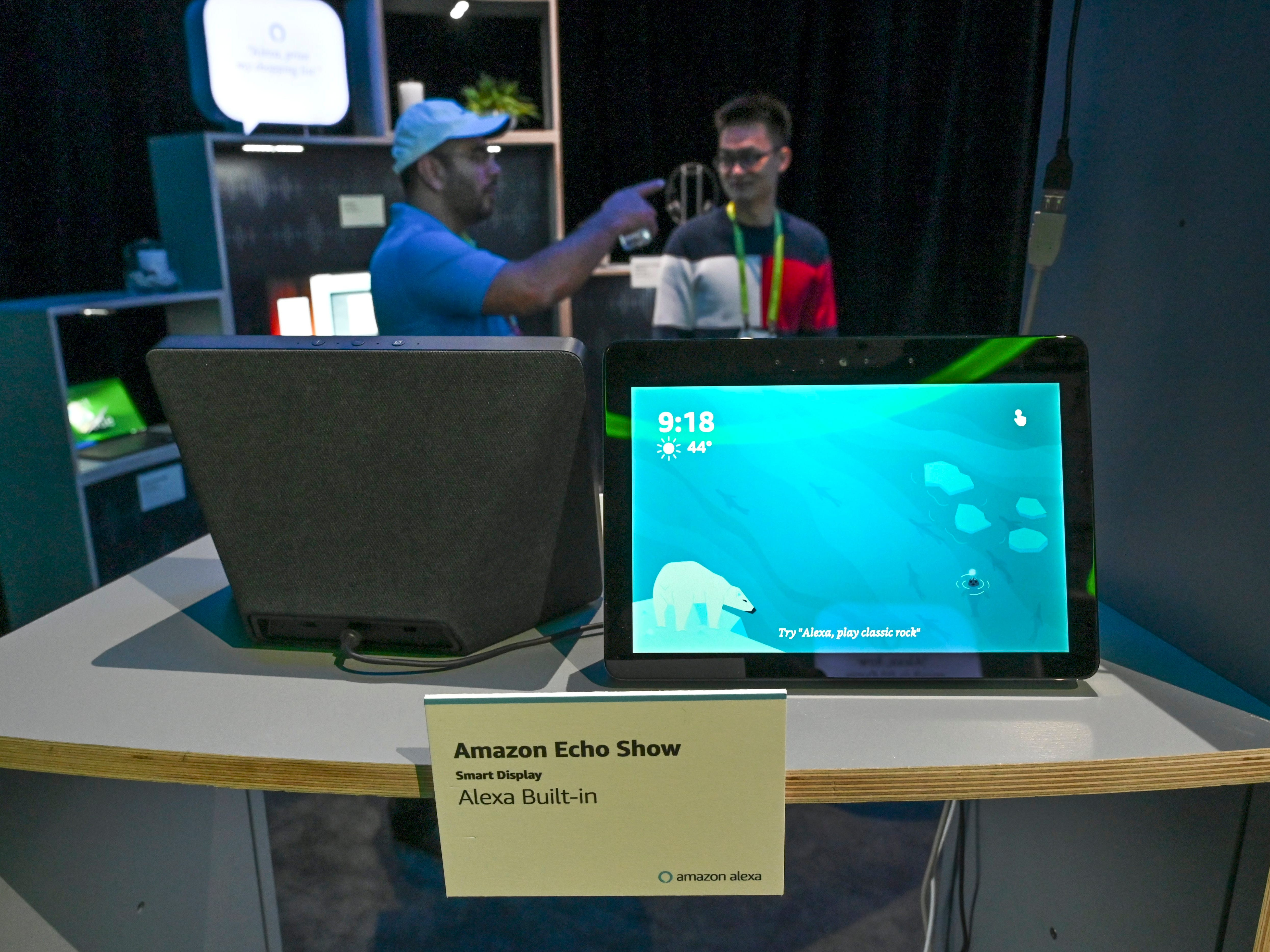One of several demonstration displays showing off Alexa enabled devices.