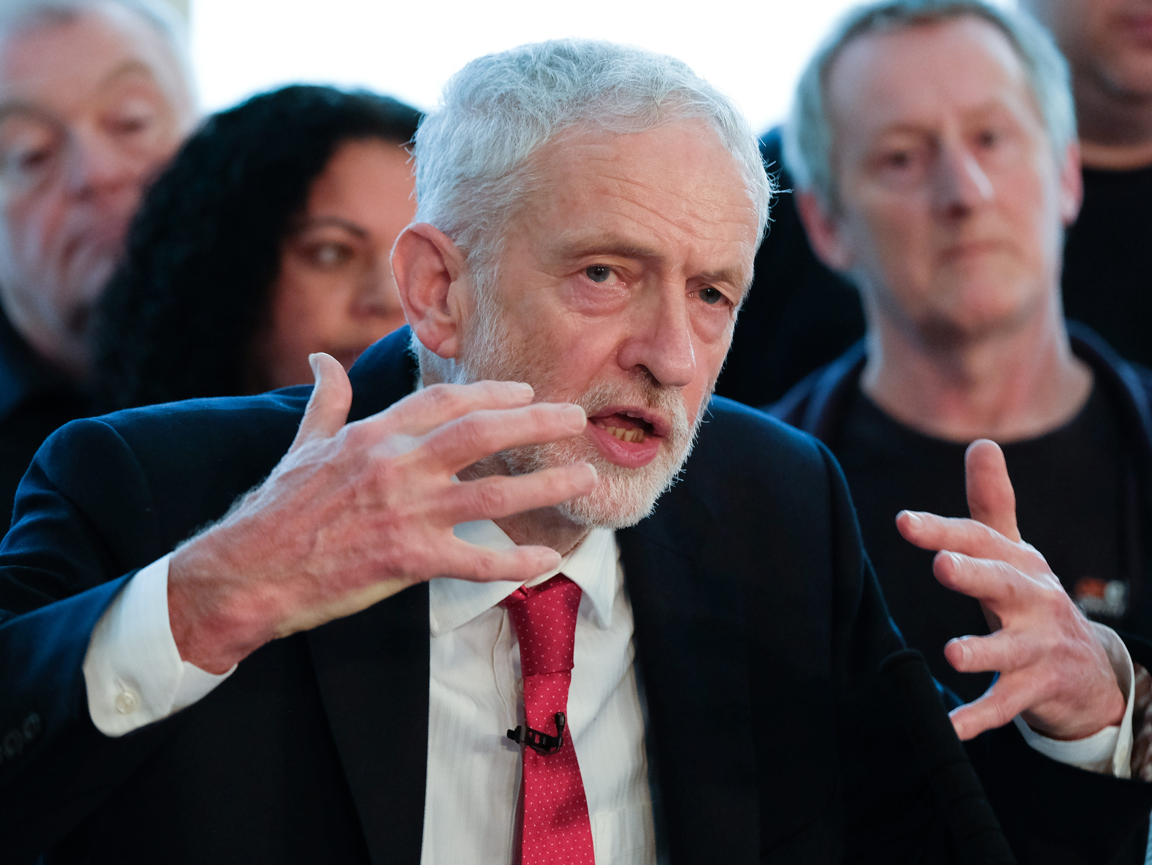 Labour leader Jeremy Corbyn delivers a speech to members of the media where he outlined Labour's approach to Brexit at the OE Electrics manufacturing factory on Jan. 10, 2019 in Wakefield, England. The speech and q&a session came ahead of the Meaningful Vote on Theresa Mays Brexit deal that is scheduled to take place next Tuesday.