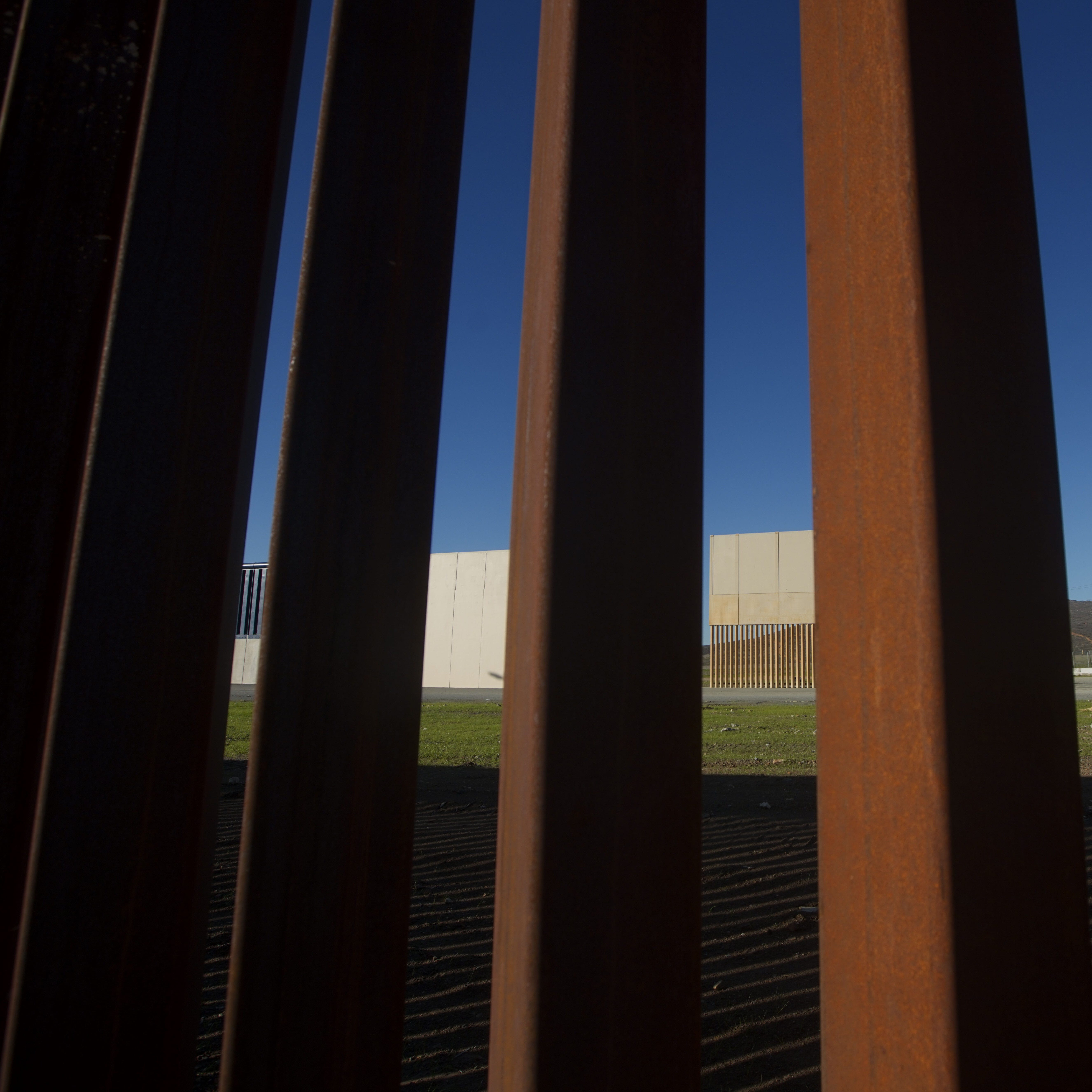 A view of prototype wall  samples looking through the U.S.-Mexico border fence on Jan. 7, 2019 in Tijuana, Mexico.