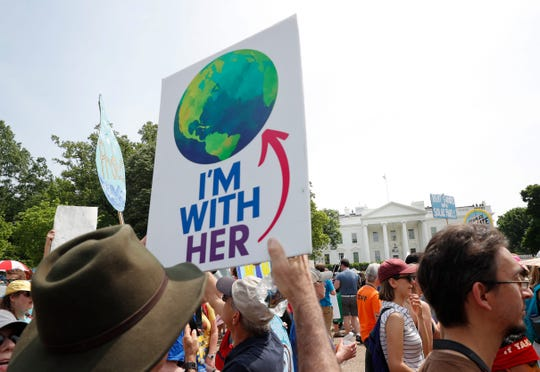 An environmental protest at the White House in 2017.