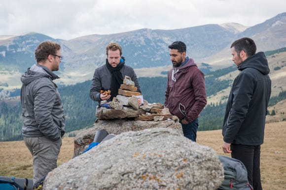 "Sam Troughton (from left), Rafe Spall, Arsher Ali and Robert James-Collier are buds on a fateful hiking trip in ""The Ritual."""