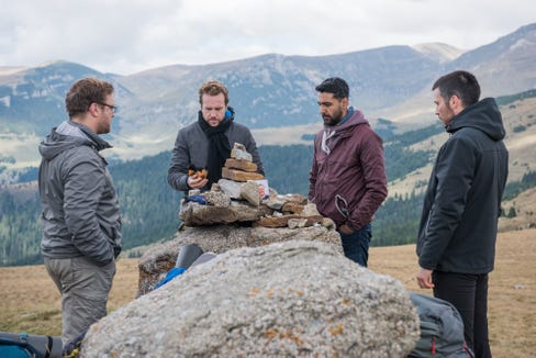 """Sam Troughton (from left), Rafe Spall, Arsher Ali and Robert James-Collier are buds on a fateful hiking trip in """"The Ritual."""""""