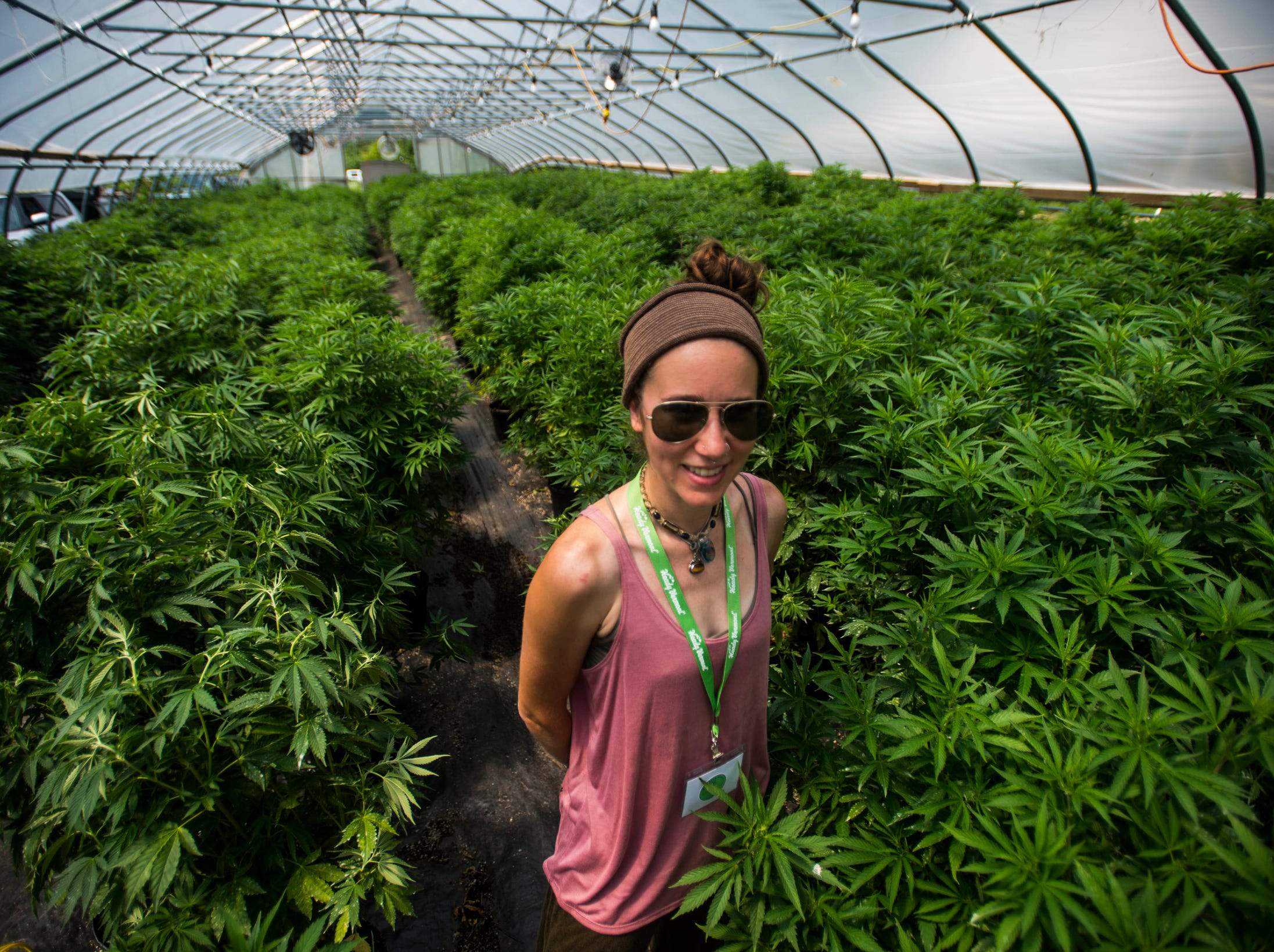 Corey Decker, with Northern Roots Nursery and Brand Ambassador for hemp-inspired women's clothing company Mary Maven VT, shows off Northern Root's CBD hemp green house at Heady Vermont's legalization celebration at Willow Farm in Johnson, VT, on  July 1, 2018, the first day or marijuana legalization in Vermont.  The FDA also approved the use of a drug derived from marijuana for the first time Monday, giving the go ahead to treat two rare forms of epilepsy with the compound cannabidiol, also known as CBD, found in hemp and marijuana.