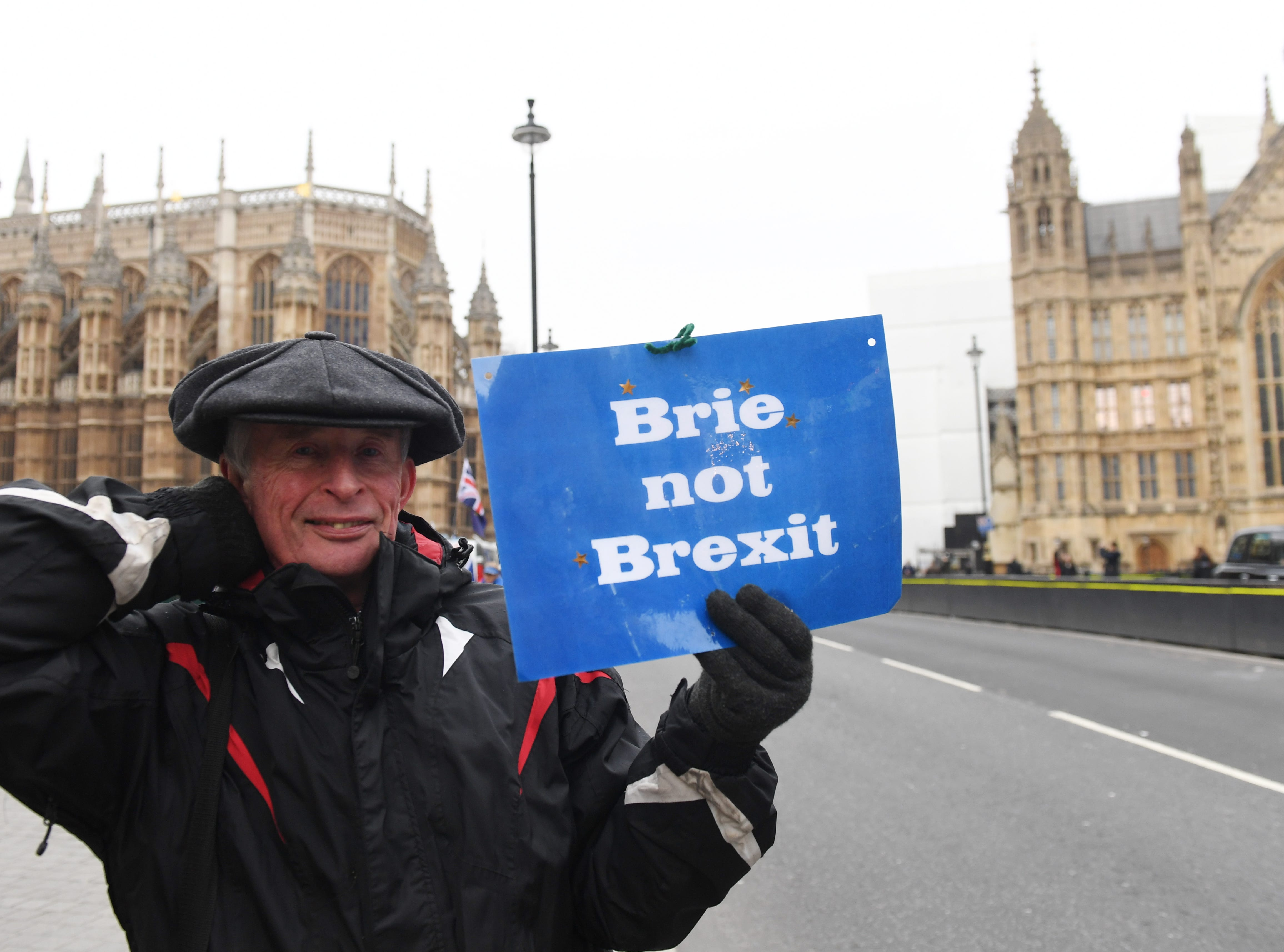 A Pro EU supporter displays a sign 'Brie not Brexit' outside the Houses of Parliament in Westminster in London, Britain on Jan. 10, 2019.