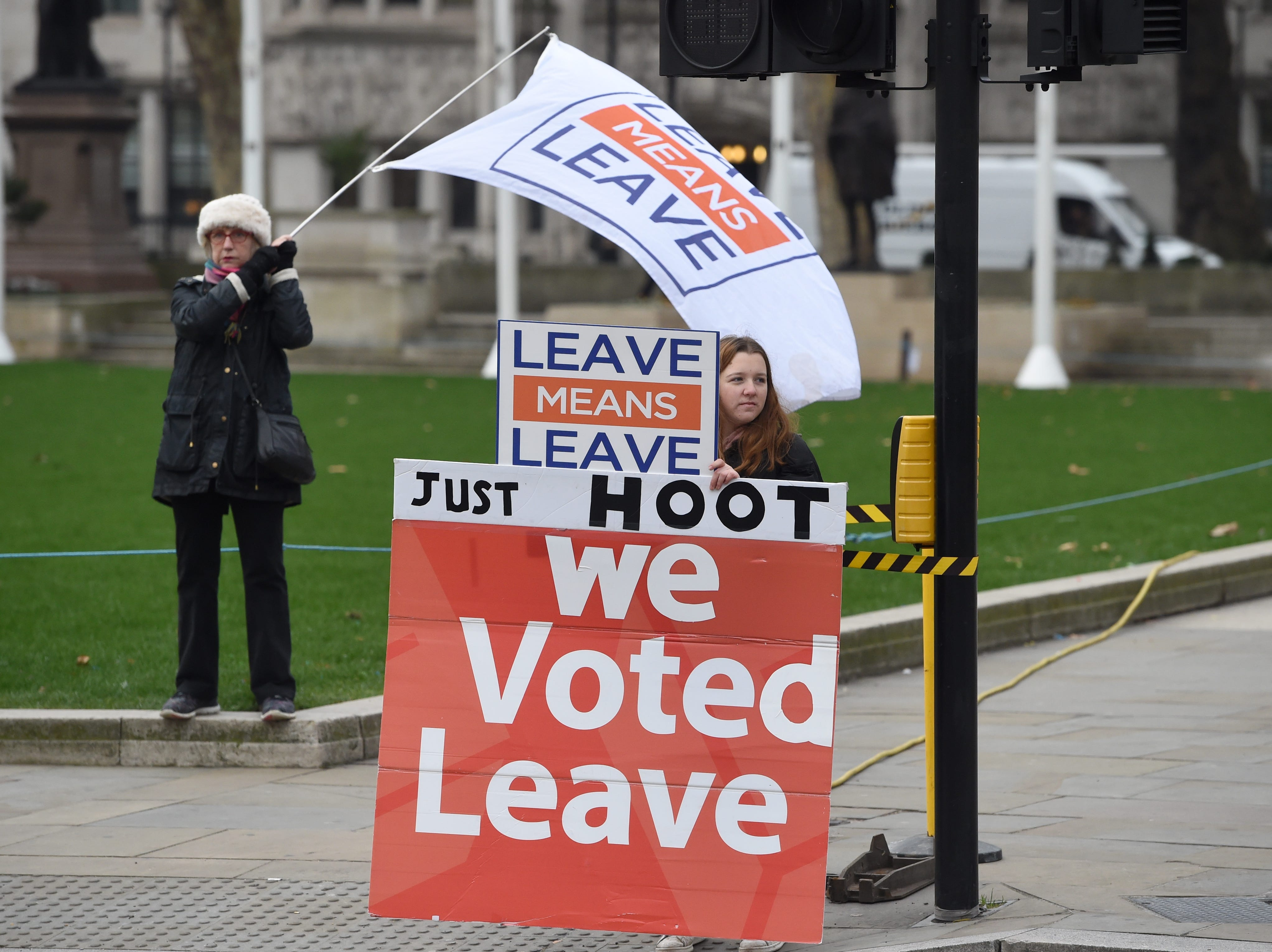 Pro Brexit supporters display signs outside the Houses of Parliament in Westminster in London, Britain on Jan. 10, 2019. MPs are debating Theresa May's Brexit plan a month after she postponed the original commons vote. Media reports state that Labour leader Jeremy Corbyn has confirmed his party members will vote against Prime Minister's May Brexit agreement and his Party will call for a General Election to 'break the deadlock' over Brexit. The meaningful vote on EU withdrawal agreement will be held on January 15.