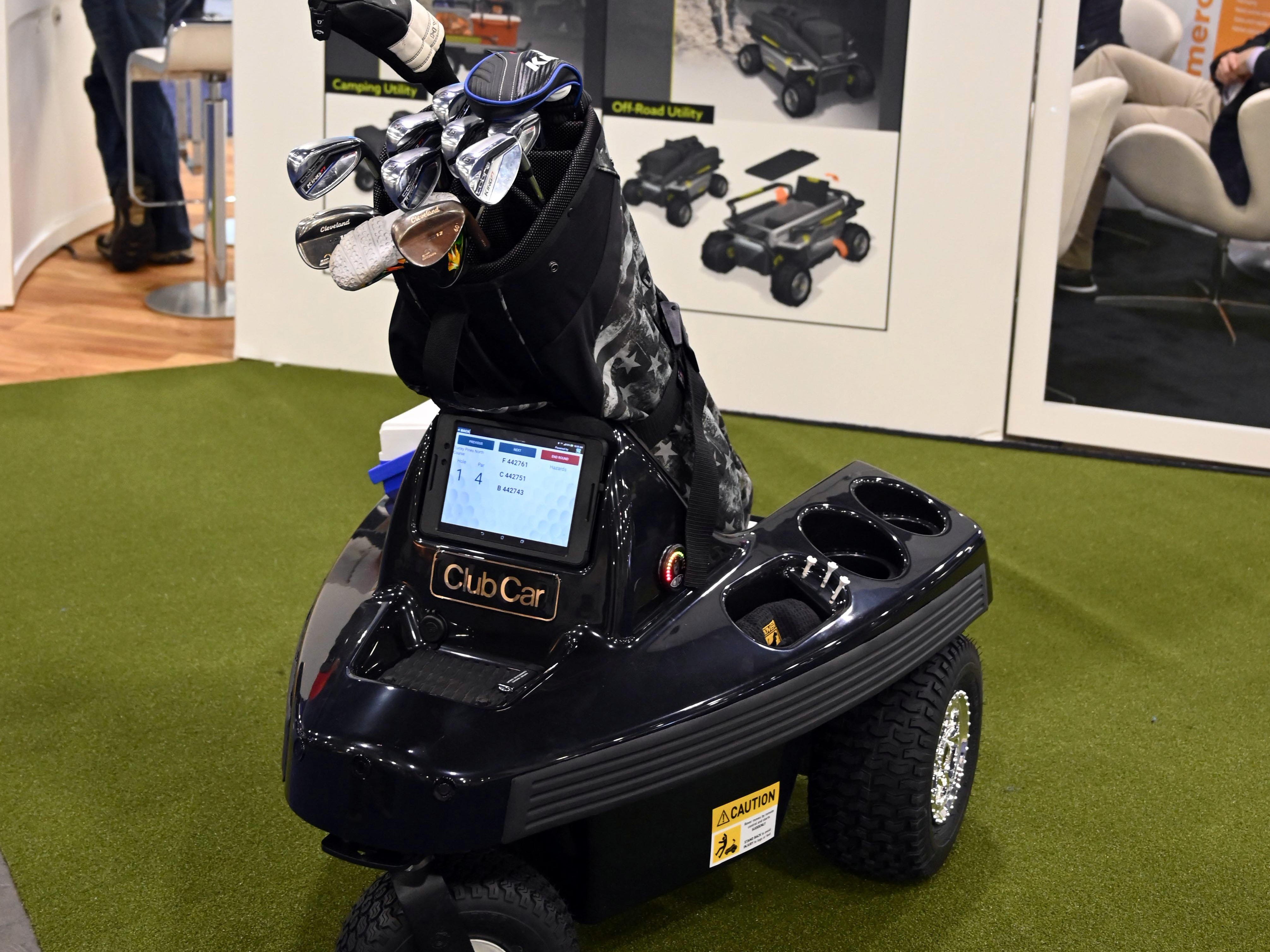 Rover, an autonomous cart that carries a golfer's bag utilizes sensor technology and wireless transmission to follow a golfer wherever he walks on the course.