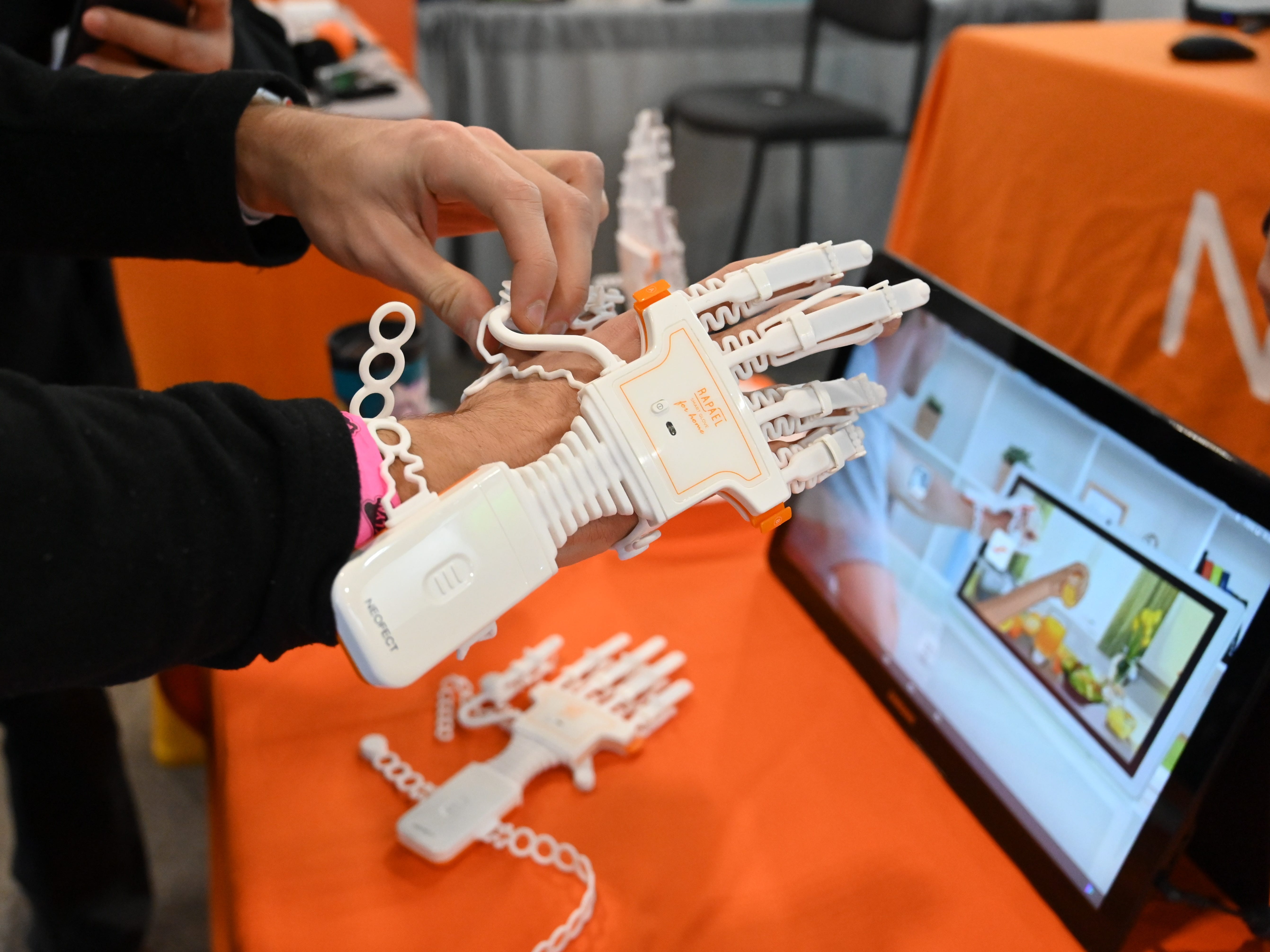 The RAPAEL Smart Glove is an interactive home rehabilitation therapy for stroke survivors to regain hand function.