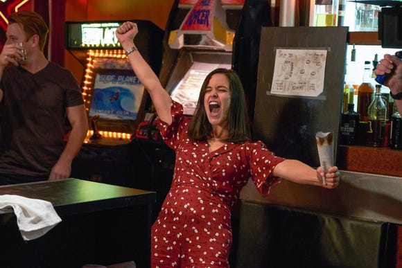 Melissa Fumero might have felt the same way her 'Brooklyn Nine-Nine' character, Sgt. Amy Santiago, does here when she encountered 'Hamilton' creator Lin Manuel-Miranda imitating Amy's 'power poses' in 2015.