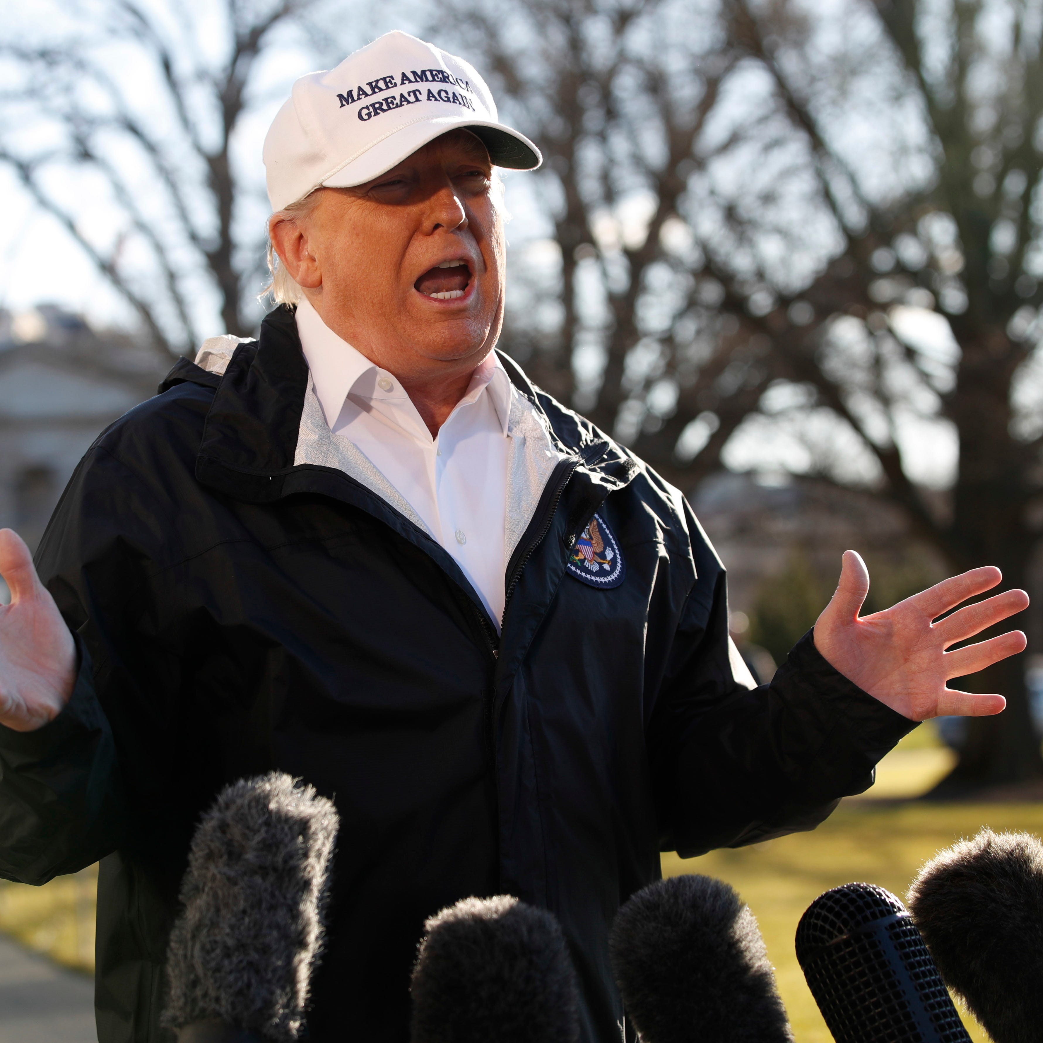 President Donald Trump speaks to the media as he leaves the White House on Jan. 10, 2019, in Washington, en route for a trip to the border in Texas as the government shutdown continues.