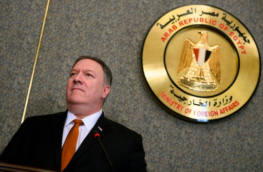 Secretary of State Mike Pompeo holds a joint press conference with his Egyptian counterpart following their meeting at the ministry of foreign affairs in Cairo on January 10, 2019. Pompeo also met with Egyptian President Abdel Fattah al-Sisi today, on the third leg of a regional tour to address concerns of American allies in the Middle East.