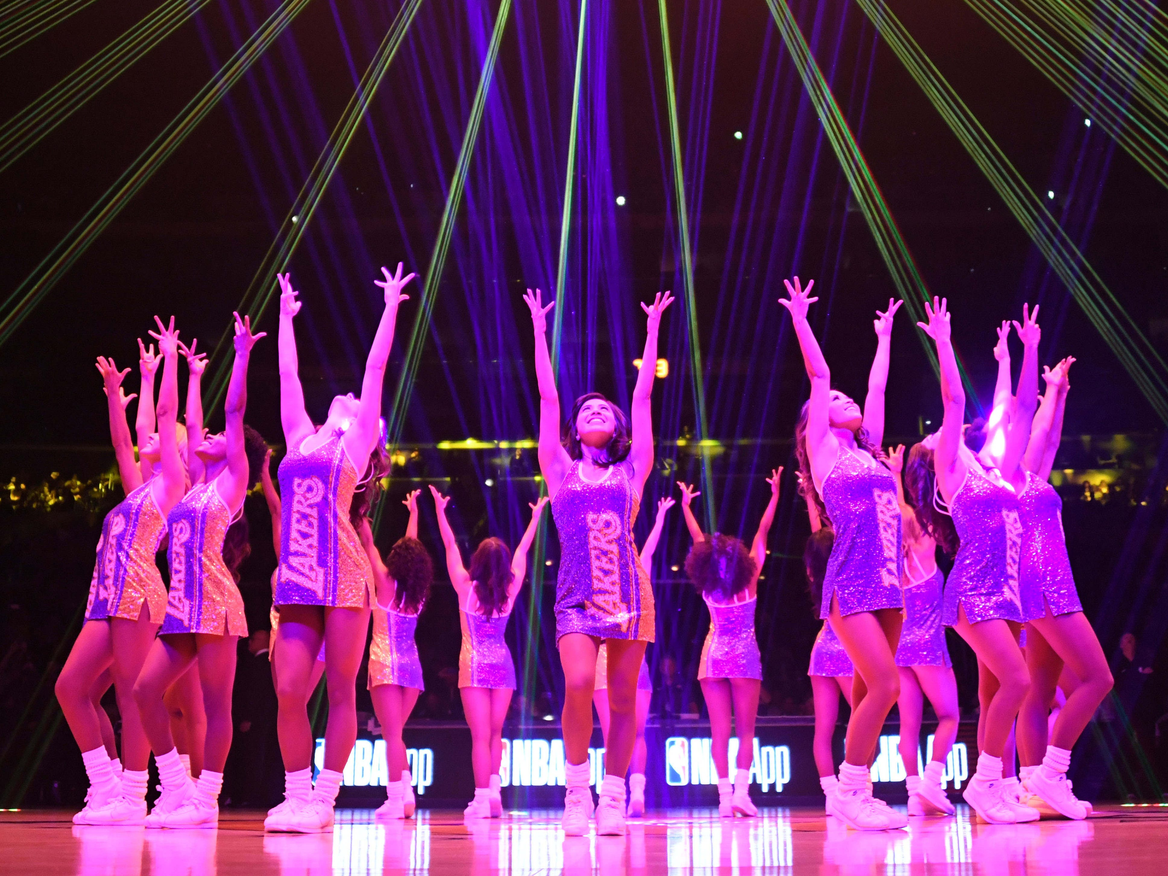 Jan. 9: The Laker Girls fired up the crowd before a game against the Pistons at Staples Center.