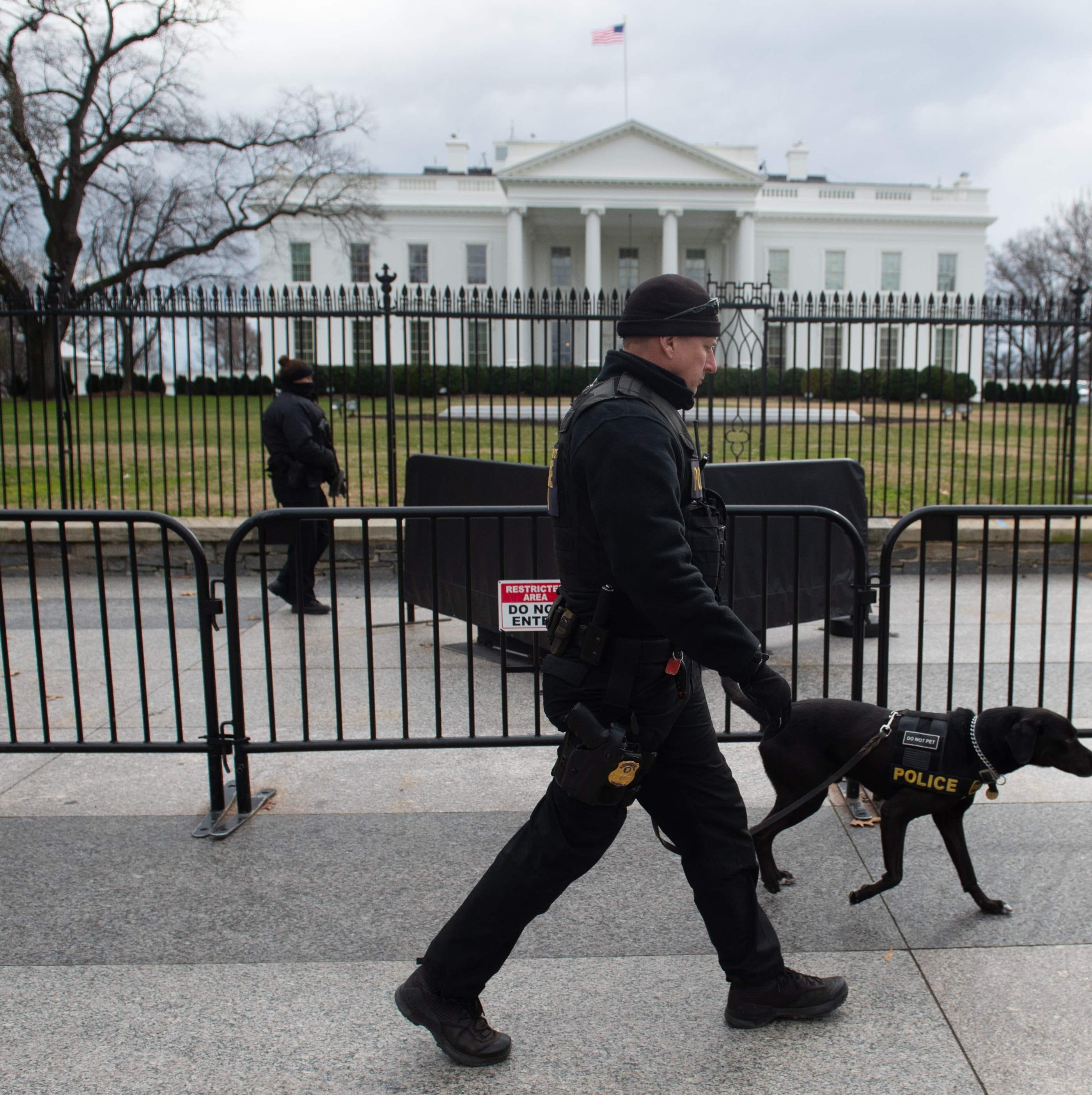 Members of the US Secret Service Uniformed Division patrol outside of the White House in Washington, DC, Jan. 9, 2019, on the 18th day of the partial government shutdown.