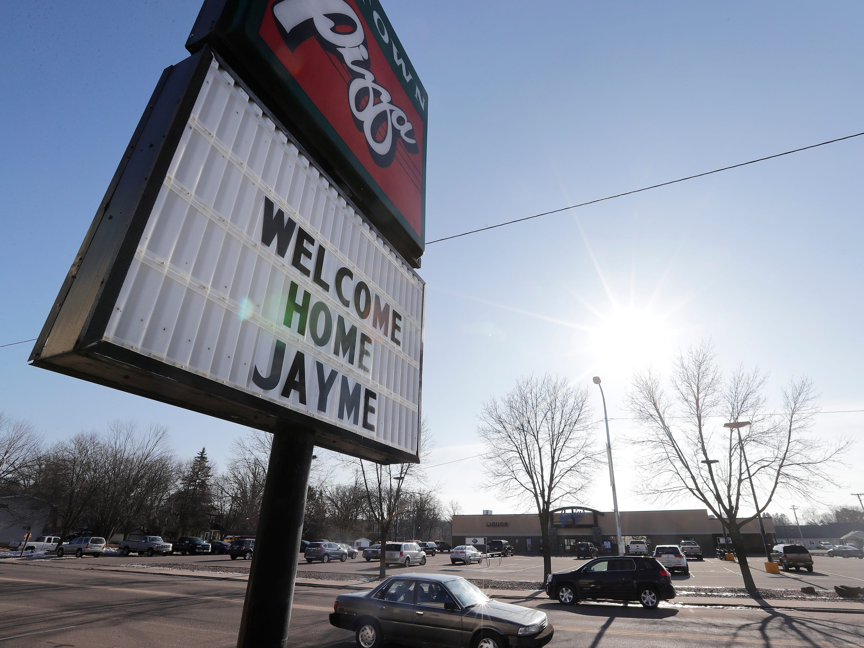 Signs welcoming Jayme Closs back are displayed on Friday, January 11, 2019 in Barron, Wis. Douglas County officials found 13-year-old Jayme Closs on Thursday near the northern Wisconsin town of Gordon. Jayme had been missing since Oct. 15, the same day her parents, James, 56, and Denise, 46, were found shot to death in their home outside Barron.