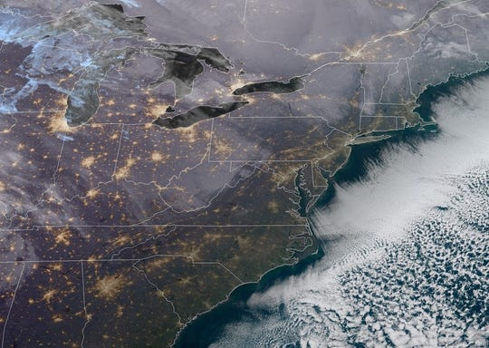 A satellite image of New Jersey, as seen on the morning of Jan. 11, 2019. Some snow snow is forecast for the Garden State this weekend.