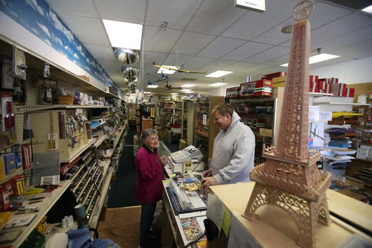 Sylvia Gustafson, mother of Frank Gustafson, owner of Jackson Hobby Shop, talks to 15-year customer Mike Kalaka of Atlantic Highlands at Jackson Hobby Shop in Jackson, NJ Friday January 11, 2019. The store will be closing after 50 years of business.