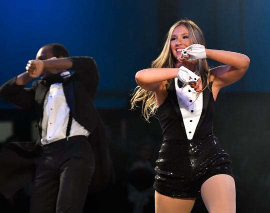Brooke Byrd performs with Domonique Gordon during Thursday's Dancing with the Abilene Stars at the Abilene Convention Center. Byrd was declared the overall winner, garnering the most vote donations.