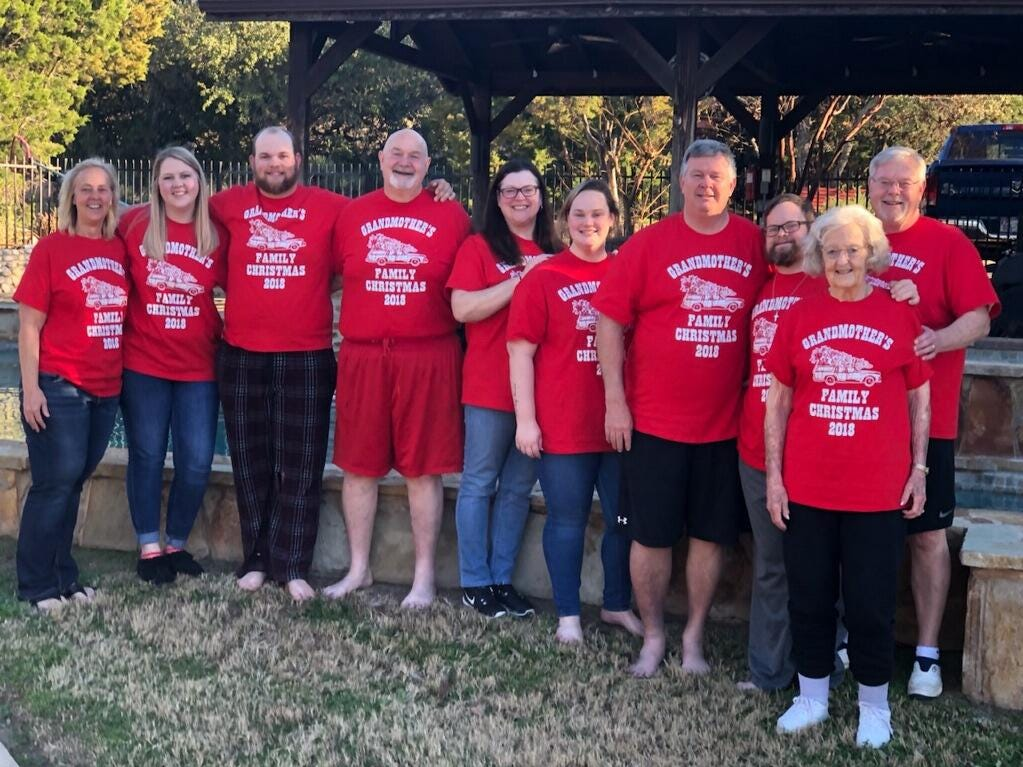 Beth McLeskey celebrates her 90th birthday with her children Kenny, Rusty and Melinda and their families during a family Christmas gathering at Lake Lyndon B. Johnson.