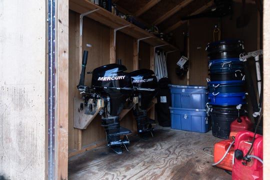 The interior of a shed at Asheville Youth Rowing at Lake Julian Park in Arden where two outboard motors were stolen sometime between last Friday and Saturday morning.