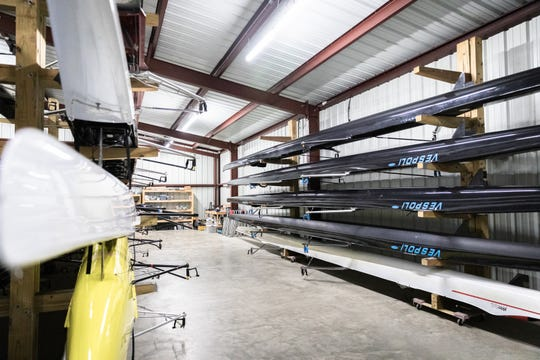 Racks of boats at Asheville Youth Rowing at Lake Julian Park in Arden where two outboard motors were stolen sometime between last Friday and Saturday morning.