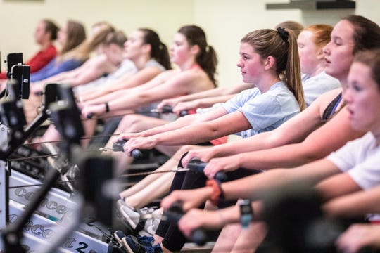 Members of the Asheville Youth Rowing Association practice inside their facility at Lake Julian Park in Arden Jan. 10, 2019, where two outboard motors were stolen sometime between last Friday and Saturday morning.
