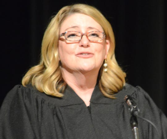 Calhoun County District Judge Tracie Tomak speaks Friday during her investiture.