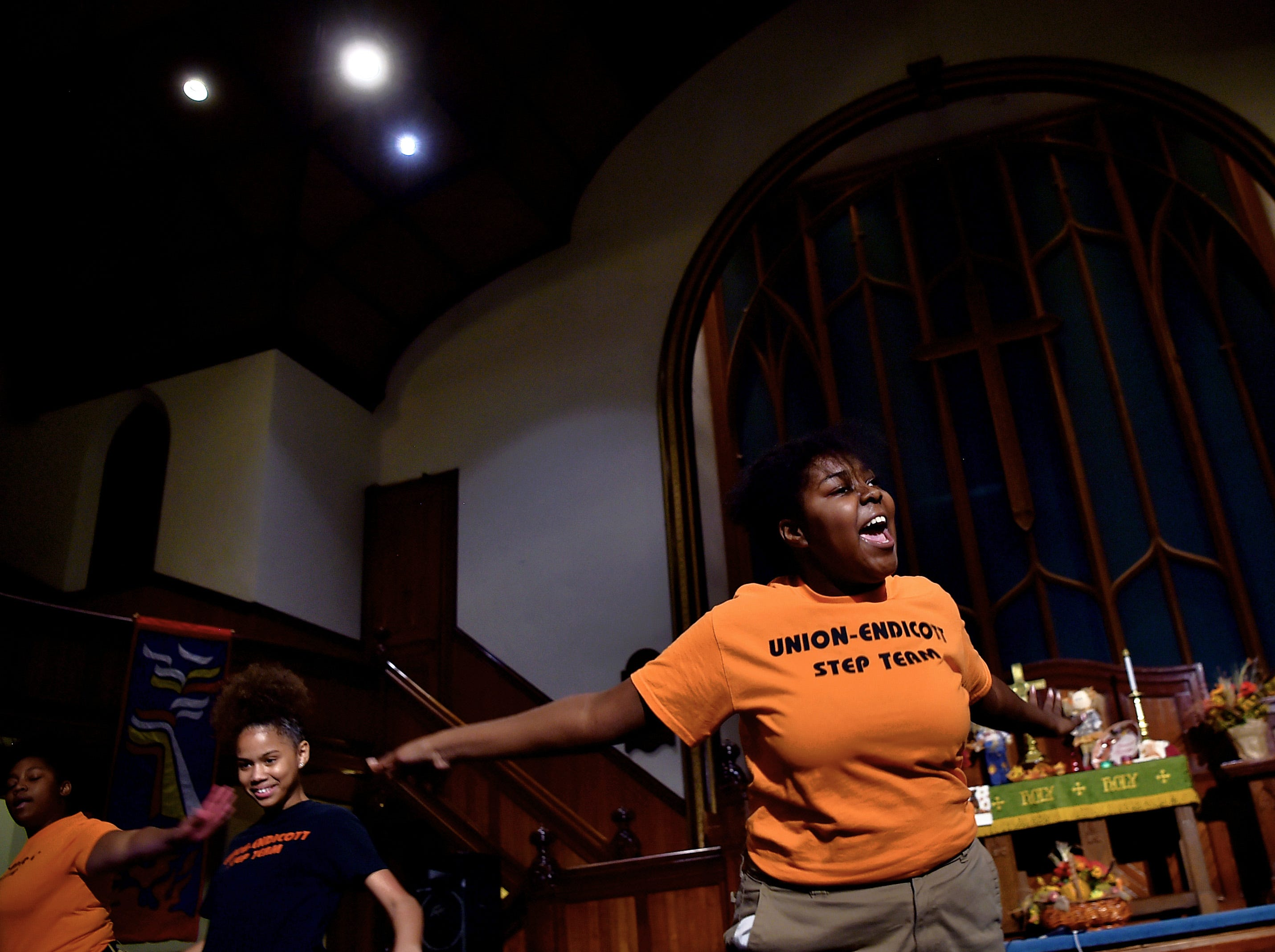Members of the Union-Endicott Step Team during ONE ACCORD at Tabernacle United Methodist Church in Binghamton on October 26, 2018.