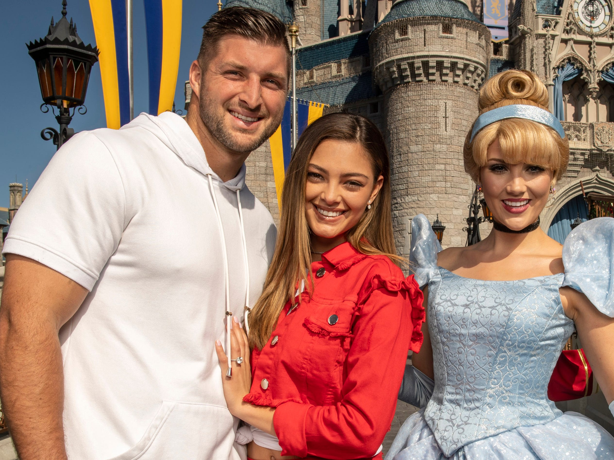Tim Tebow and his fiancee Demi-Leigh Nel-Peters celebrated at Disney World on Friday.